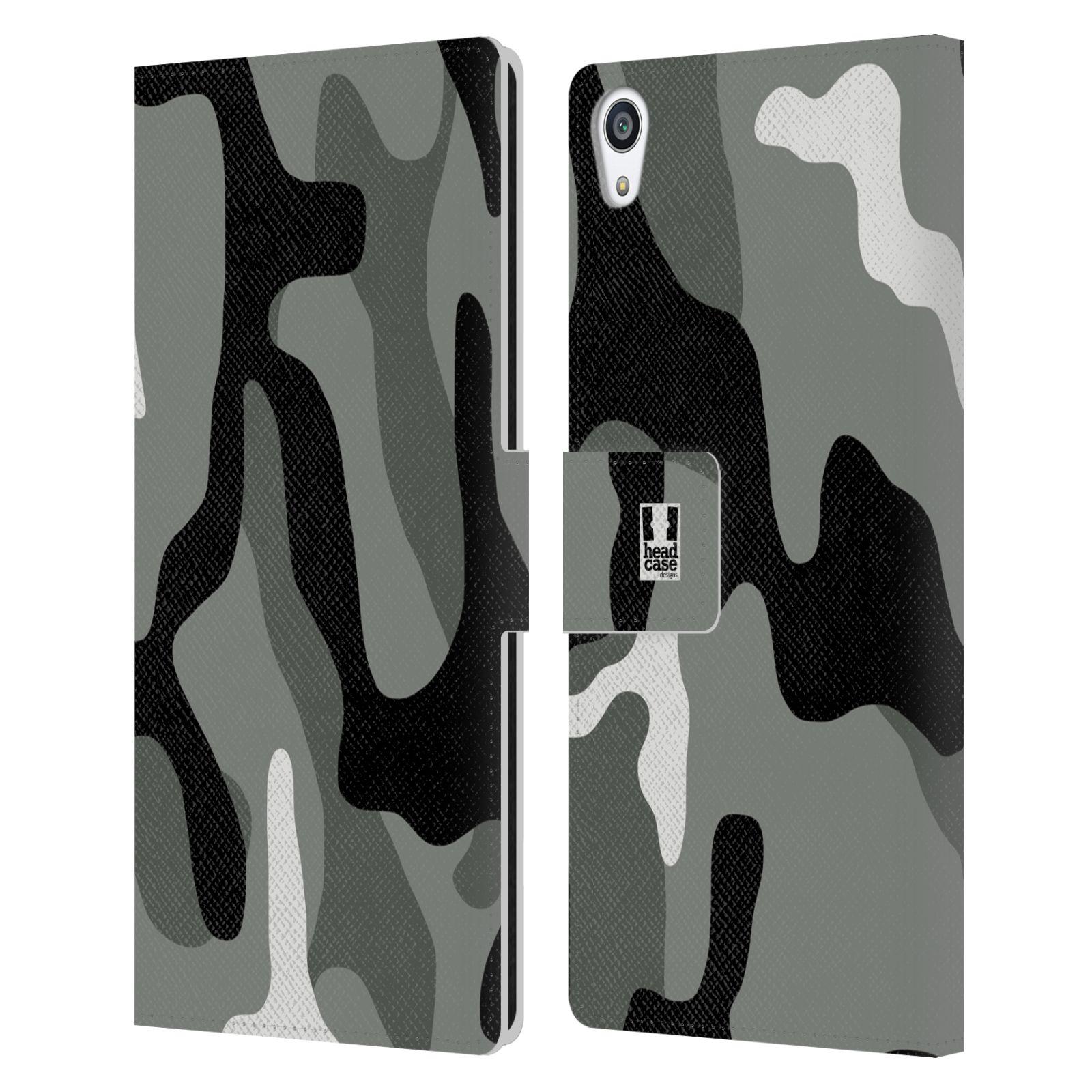 HEAD CASE Flipové pouzdro pro mobil SONY XPERIA Z5 PREMIUM kamufláž šedá barva