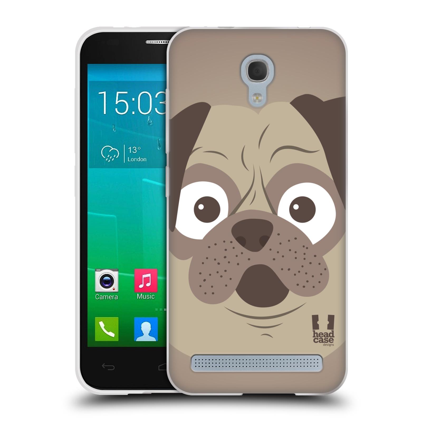 HEAD CASE silikonový obal na mobil Alcatel Idol 2 MINI S 6036Y vzor Cartoon Karikatura barevná kreslená zvířátka pes mopsík