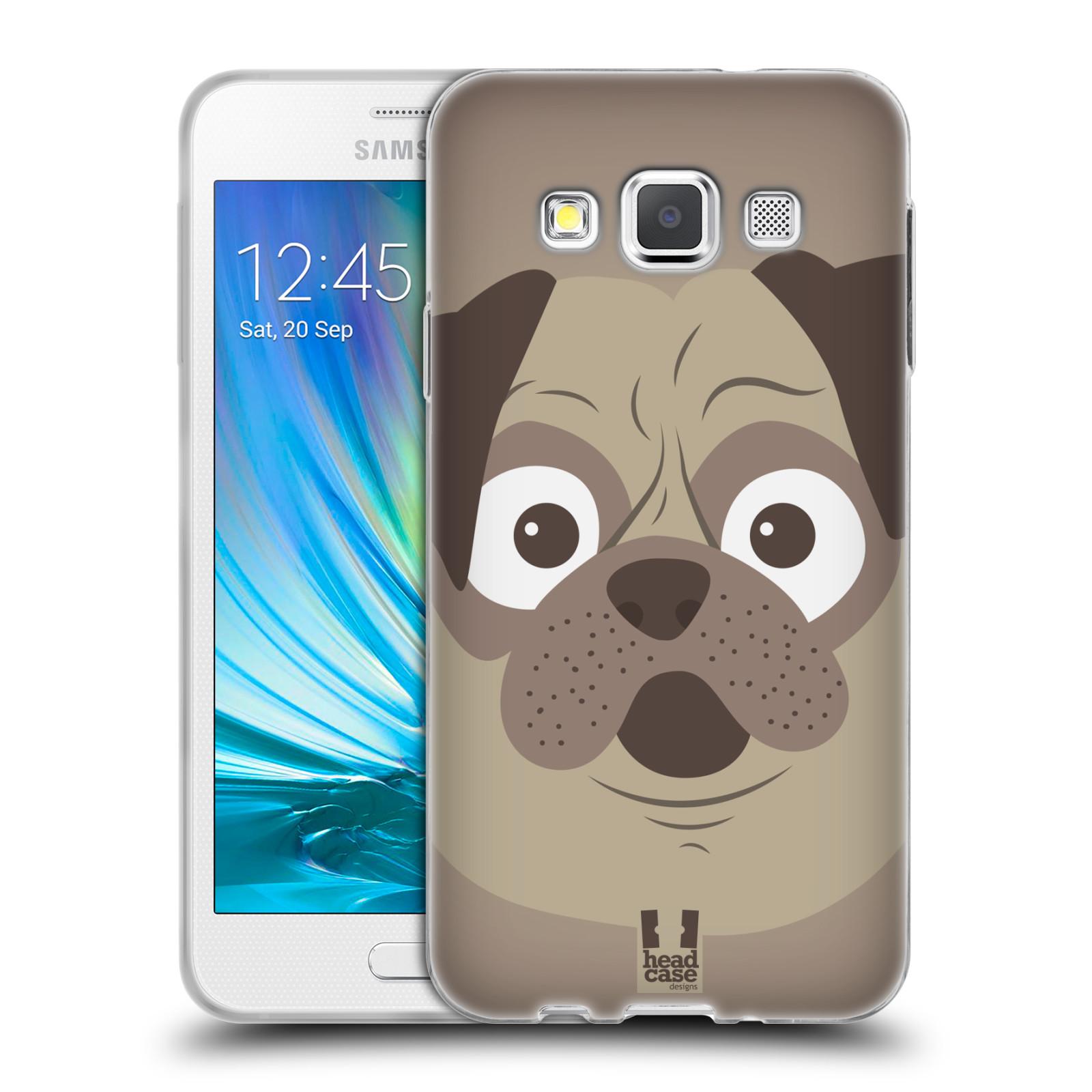 HEAD CASE silikonový obal na mobil Samsung Galaxy A3 vzor Cartoon Karikatura barevná kreslená zvířátka pes mopsík