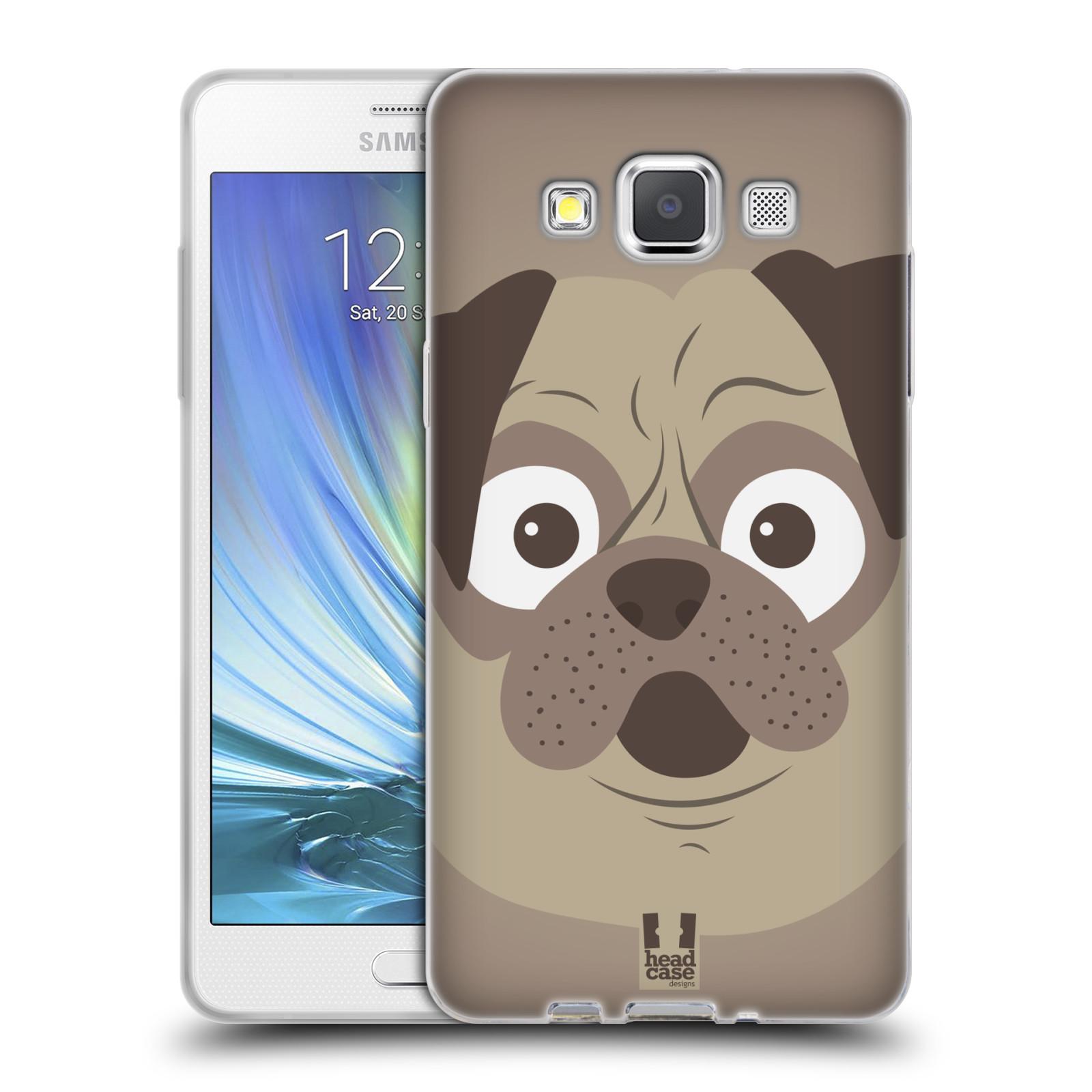 HEAD CASE silikonový obal na mobil Samsung Galaxy A5 vzor Cartoon Karikatura barevná kreslená zvířátka pes mopsík