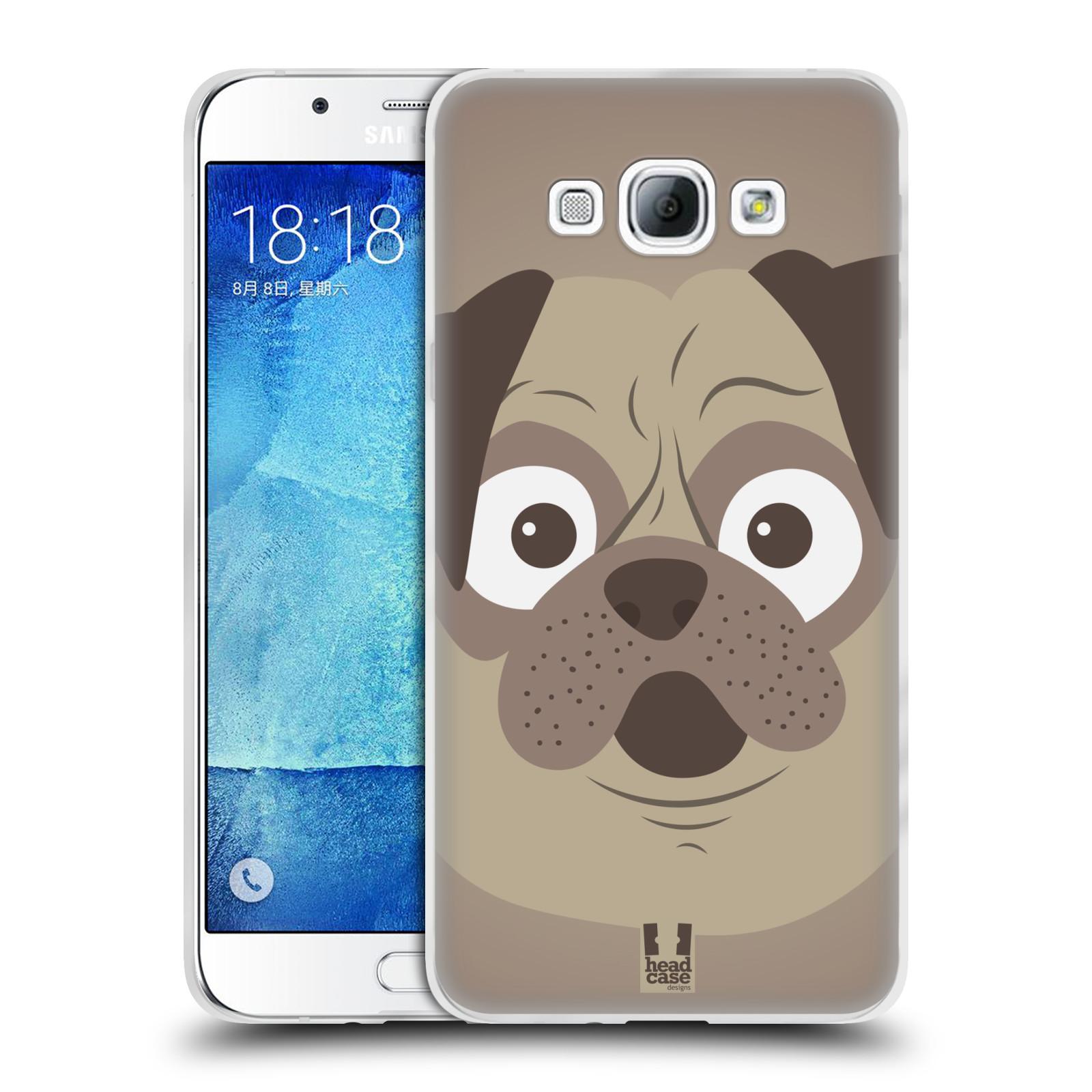 HEAD CASE silikonový obal na mobil Samsung Galaxy A8 vzor Cartoon Karikatura barevná kreslená zvířátka pes mopsík