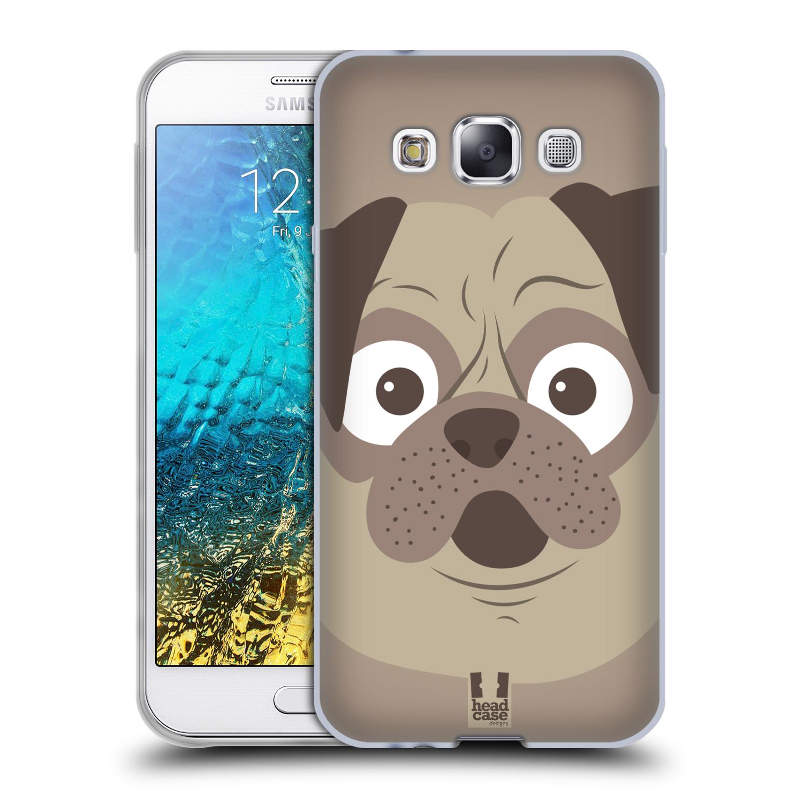 HEAD CASE silikonový obal na mobil Samsung Galaxy E5 vzor Cartoon Karikatura barevná kreslená zvířátka pes mopsík