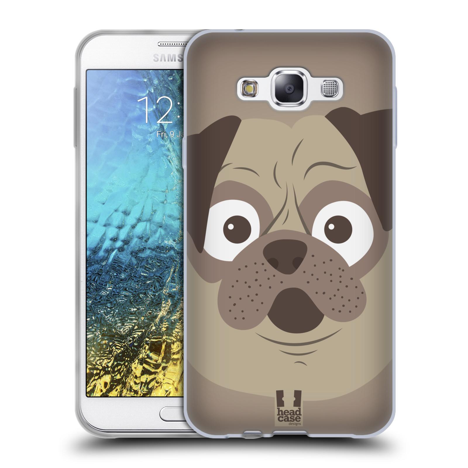 HEAD CASE silikonový obal na mobil Samsung Galaxy E7 vzor Cartoon Karikatura barevná kreslená zvířátka pes mopsík