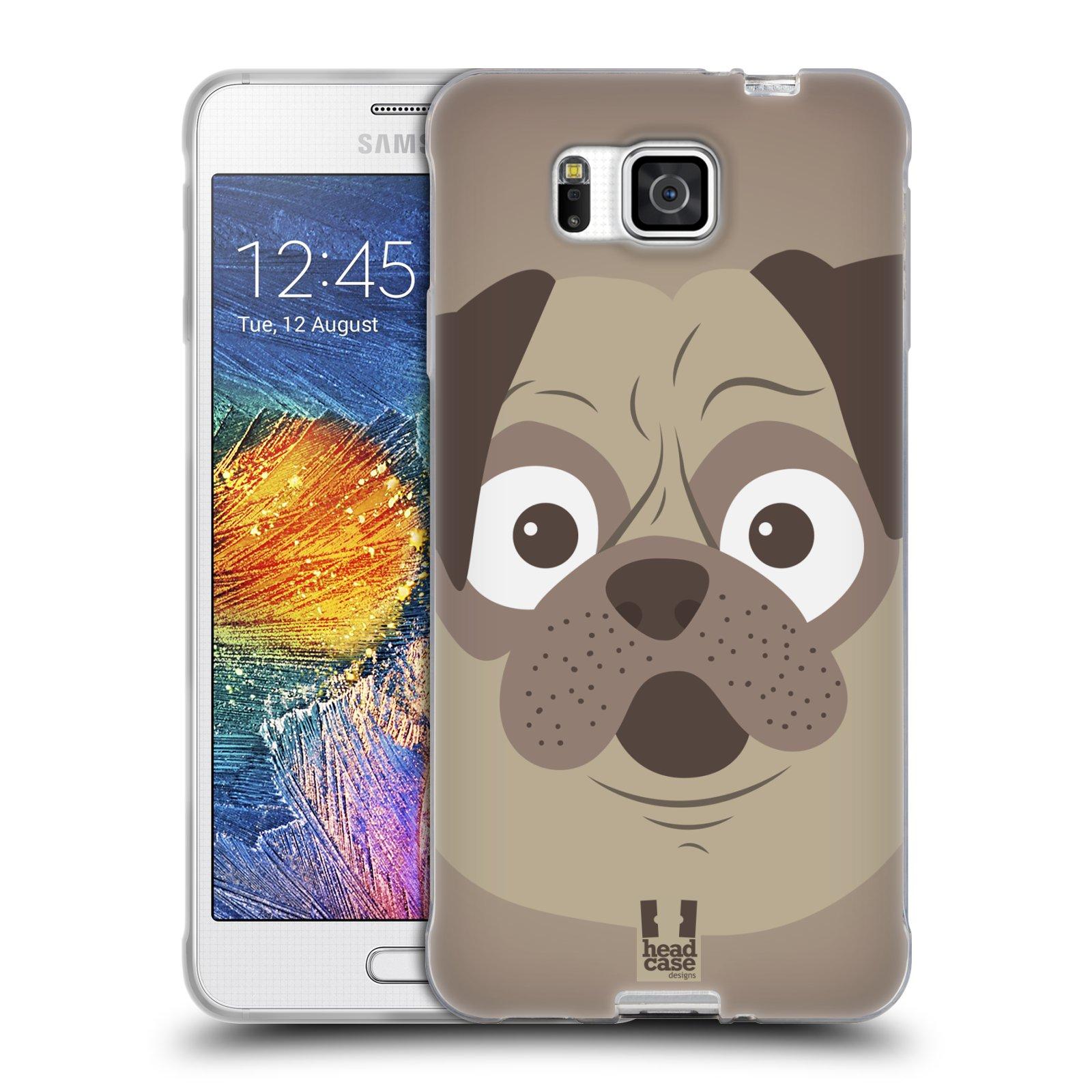 HEAD CASE silikonový obal na mobil Samsung Galaxy ALPHA vzor Cartoon Karikatura barevná kreslená zvířátka pes mopsík