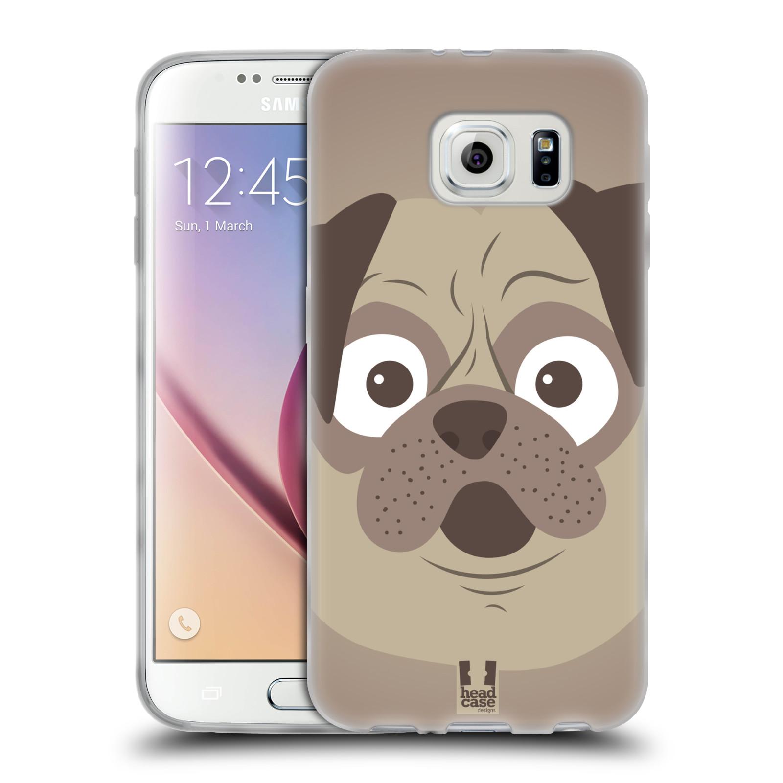 HEAD CASE silikonový obal na mobil Samsung Galaxy S6 vzor Cartoon Karikatura barevná kreslená zvířátka pes mopsík