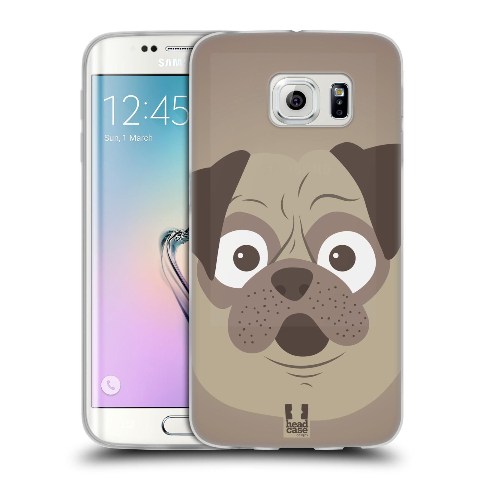 HEAD CASE silikonový obal na mobil Samsung Galaxy S6 EDGE vzor Cartoon Karikatura barevná kreslená zvířátka pes mopsík