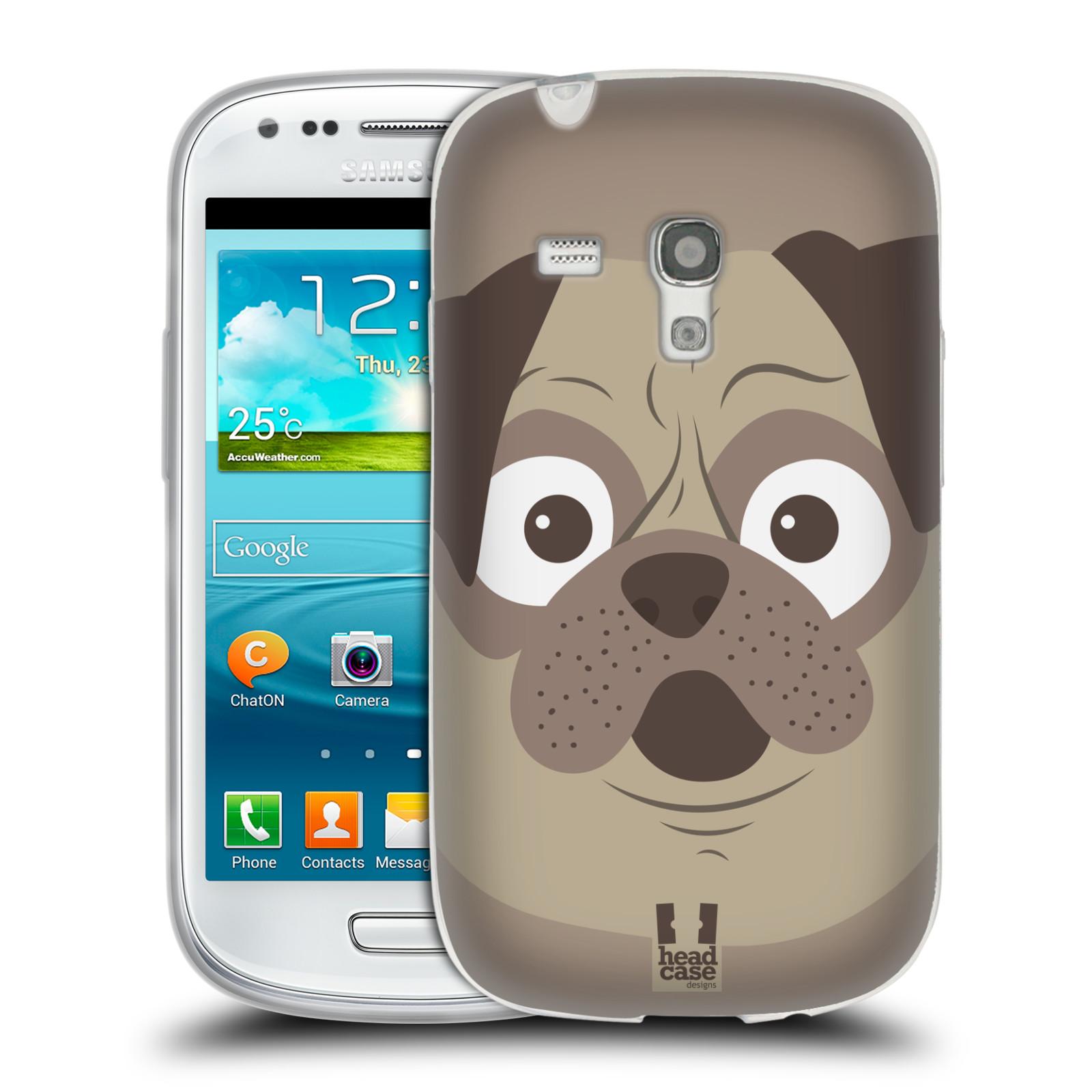 HEAD CASE silikonový obal na mobil Samsung Galaxy S3 MINI i8190 vzor Cartoon Karikatura barevná kreslená zvířátka pes mopsík
