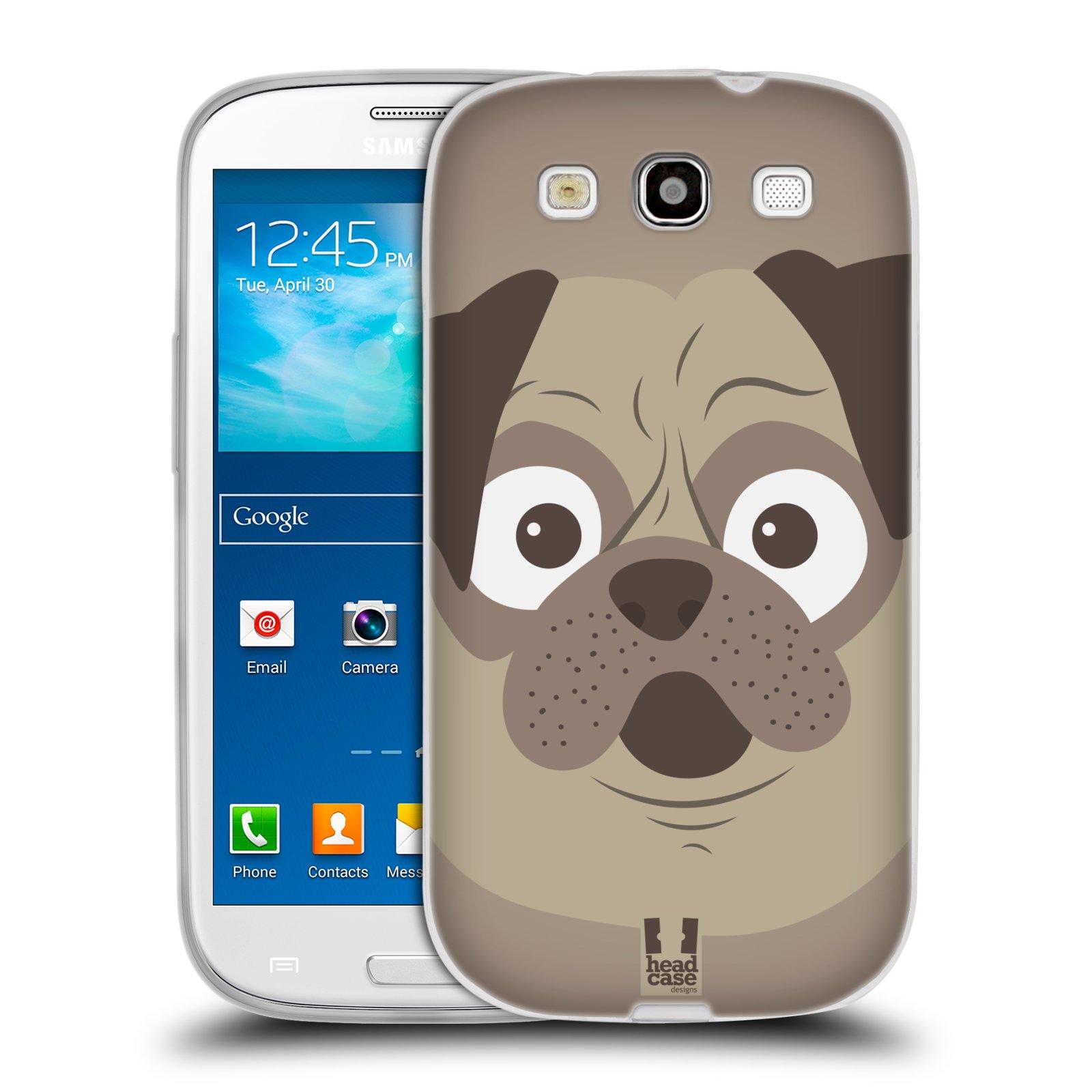 HEAD CASE silikonový obal na mobil Samsung Galaxy S3 i9300 vzor Cartoon Karikatura barevná kreslená zvířátka pes mopsík