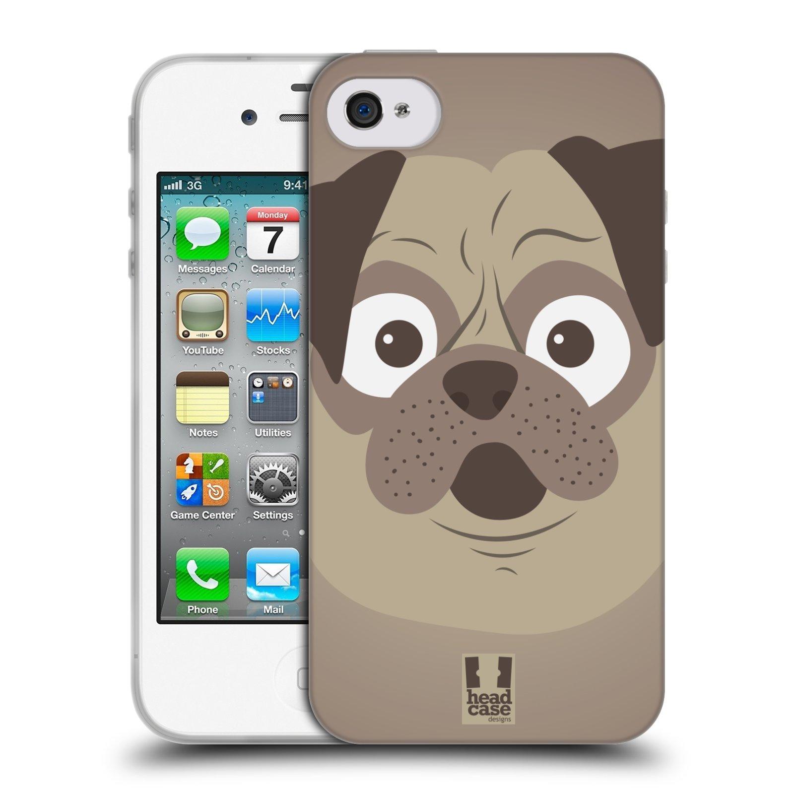 HEAD CASE silikonový obal na mobil Apple Iphone 4/4S vzor Cartoon Karikatura barevná kreslená zvířátka pes mopsík
