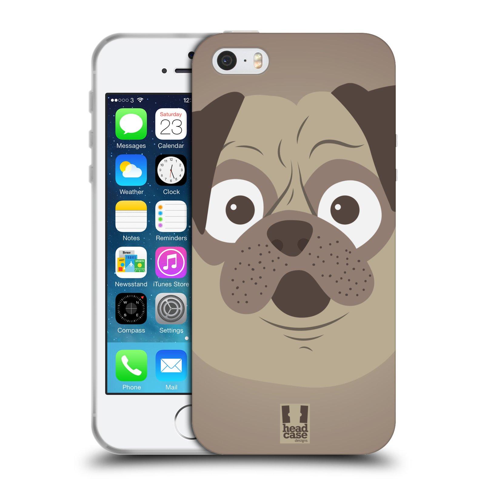 HEAD CASE silikonový obal na mobil Apple Iphone 5/5S vzor Cartoon Karikatura barevná kreslená zvířátka pes mopsík