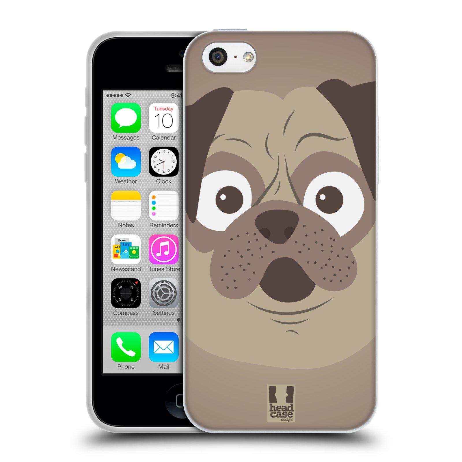 HEAD CASE silikonový obal na mobil Apple Iphone 5C vzor Cartoon Karikatura barevná kreslená zvířátka pes mopsík