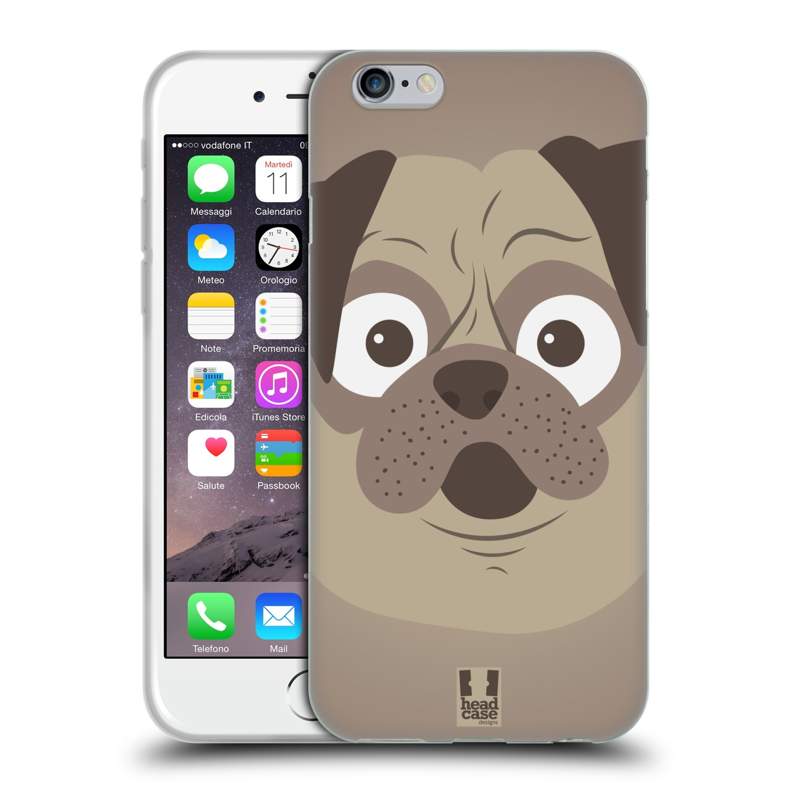 HEAD CASE silikonový obal na mobil Apple Iphone 6/6S vzor Cartoon Karikatura barevná kreslená zvířátka pes mopsík