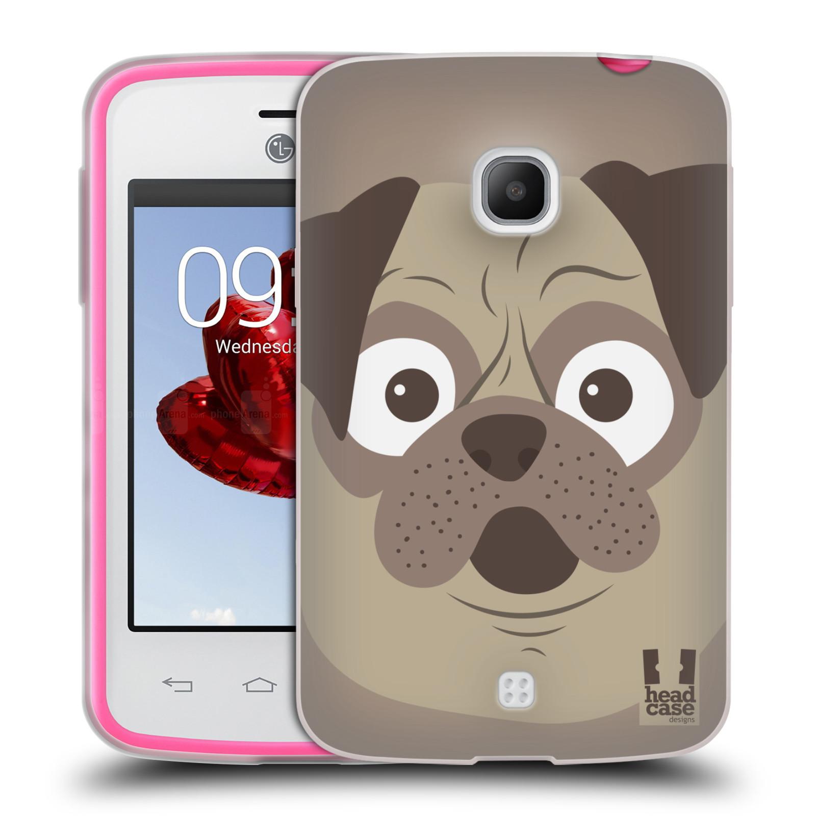 HEAD CASE silikonový obal na mobil LG L30 vzor Cartoon Karikatura barevná kreslená zvířátka pes mopsík