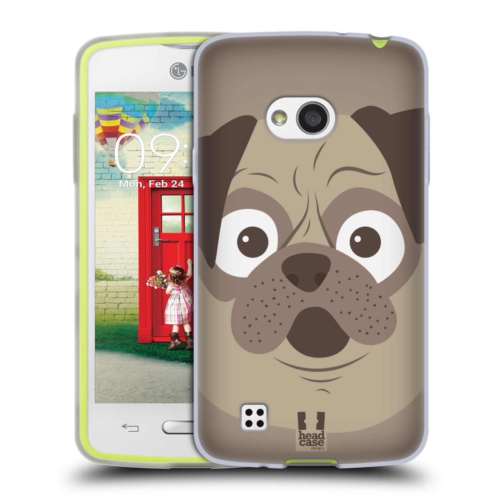 HEAD CASE silikonový obal na mobil LG L50 vzor Cartoon Karikatura barevná kreslená zvířátka pes mopsík