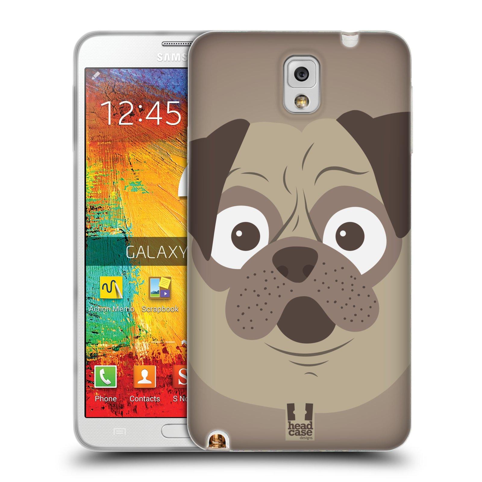 HEAD CASE silikonový obal na mobil Samsung Galaxy Note 3 (N9005) vzor Cartoon Karikatura barevná kreslená zvířátka pes mopsík
