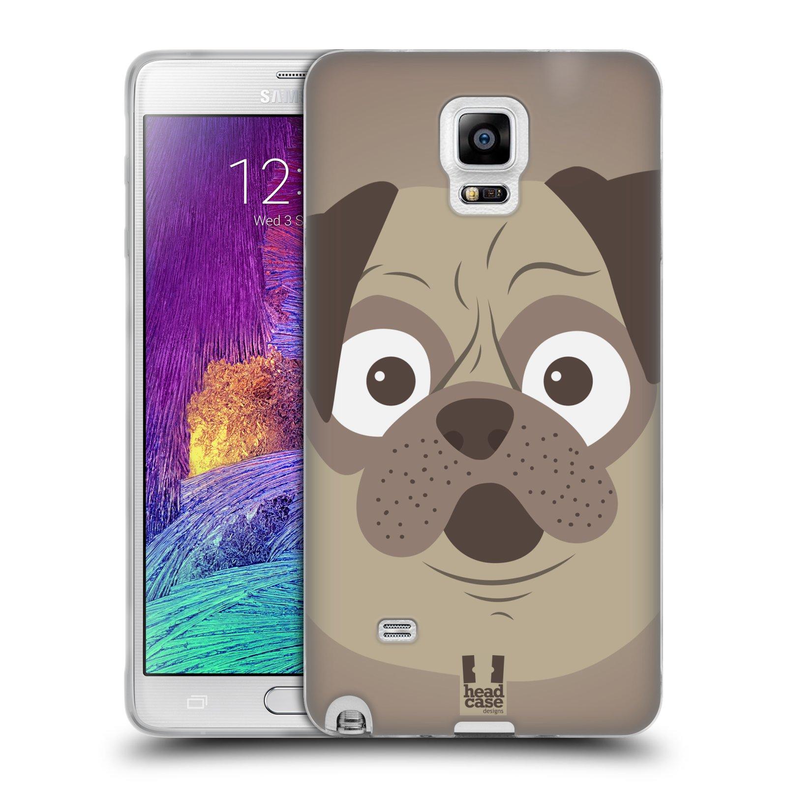 HEAD CASE silikonový obal na mobil Samsung Galaxy Note 4 (N910) vzor Cartoon Karikatura barevná kreslená zvířátka pes mopsík