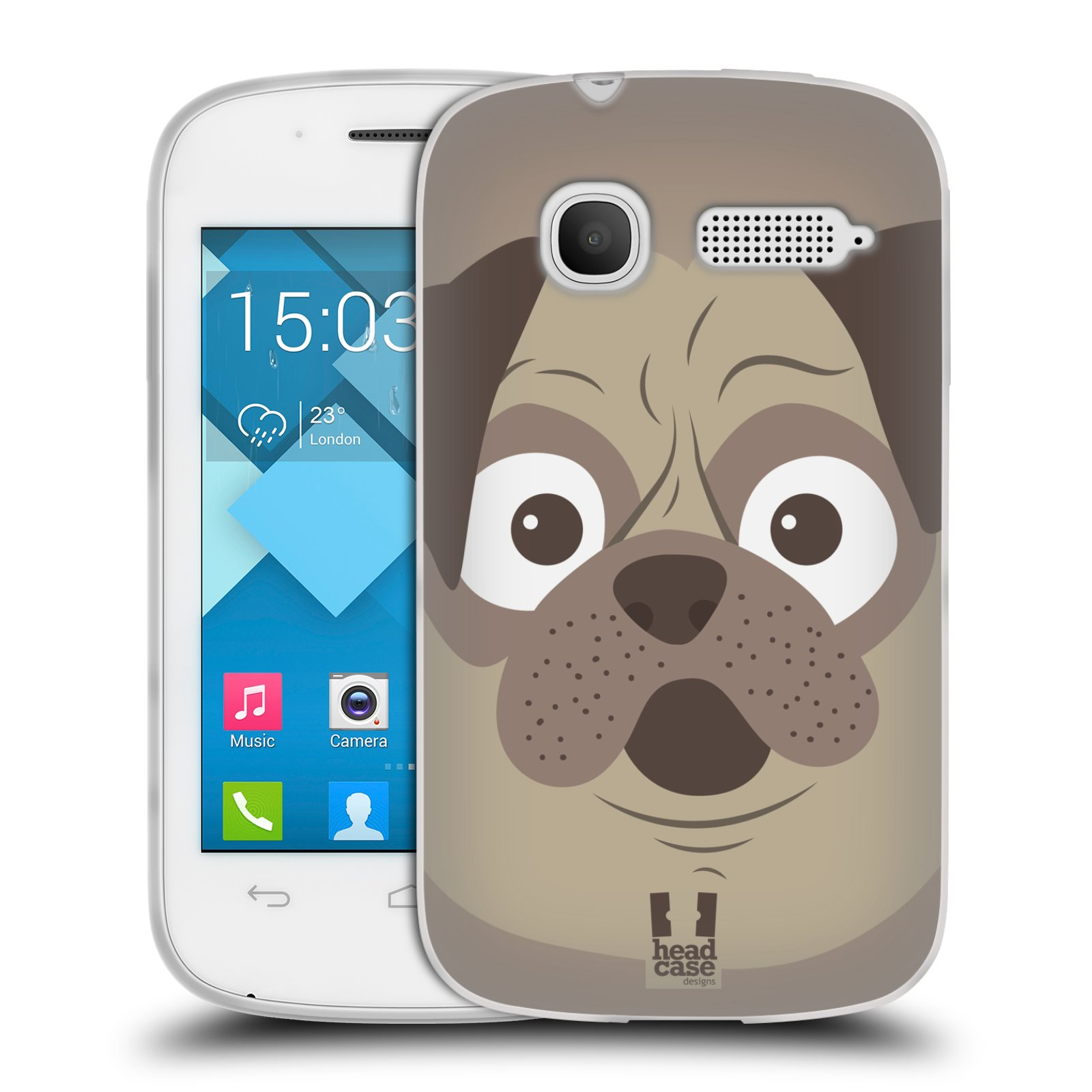 HEAD CASE silikonový obal na mobil Alcatel POP C1 OT-4015D vzor Cartoon Karikatura barevná kreslená zvířátka pes mopsík