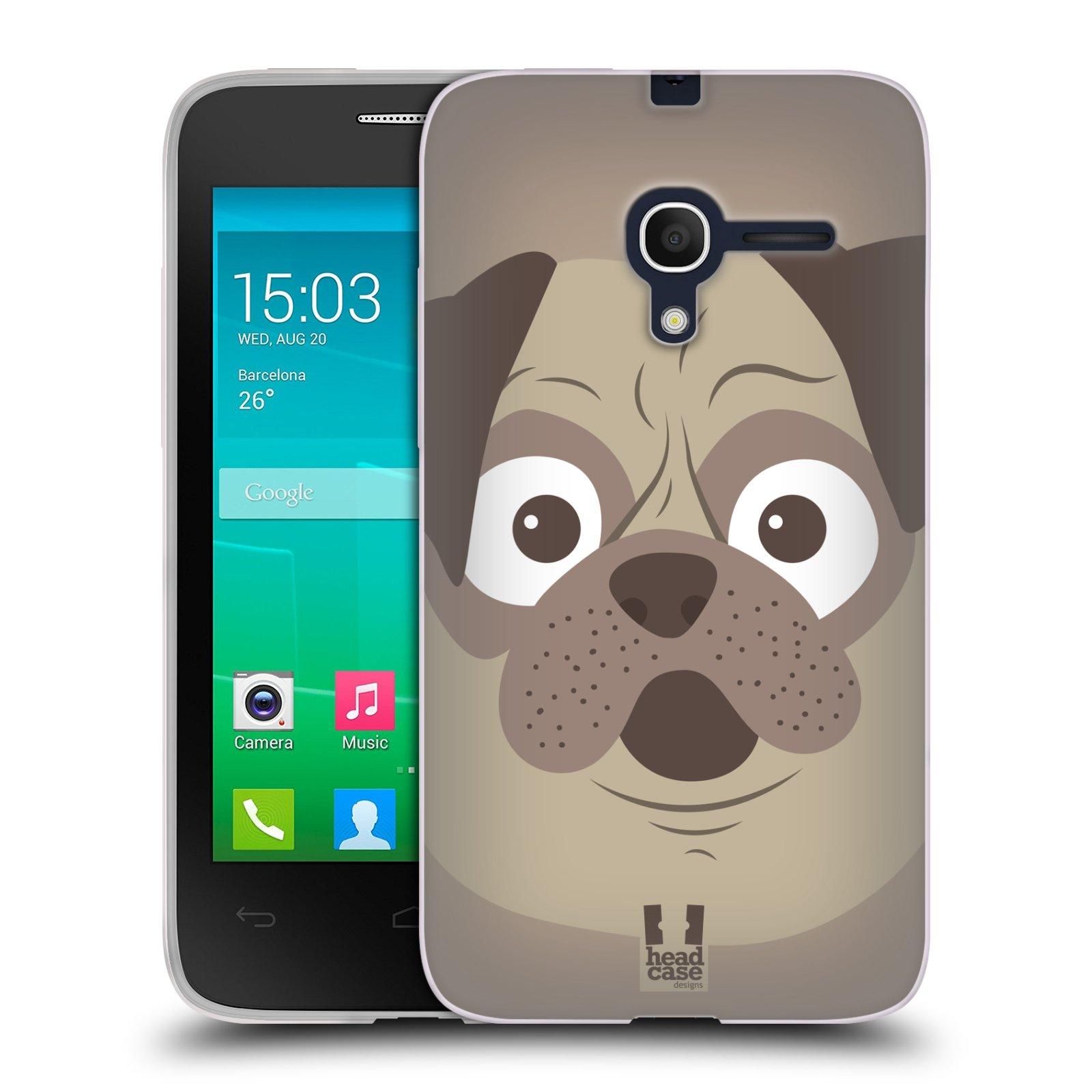 HEAD CASE silikonový obal na mobil Alcatel POP D3 OT-4035D vzor Cartoon Karikatura barevná kreslená zvířátka pes mopsík