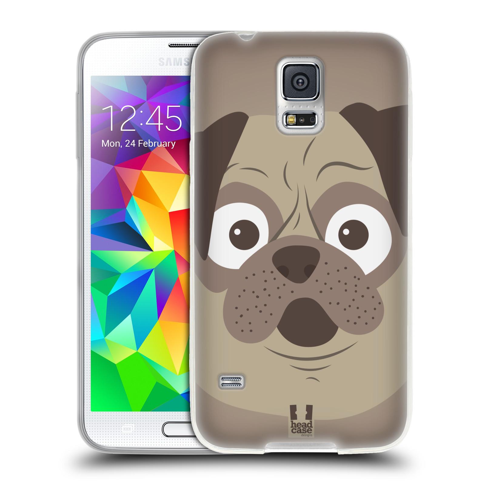 HEAD CASE silikonový obal na mobil Samsung Galaxy S5/S5 NEO vzor Cartoon Karikatura barevná kreslená zvířátka pes mopsík
