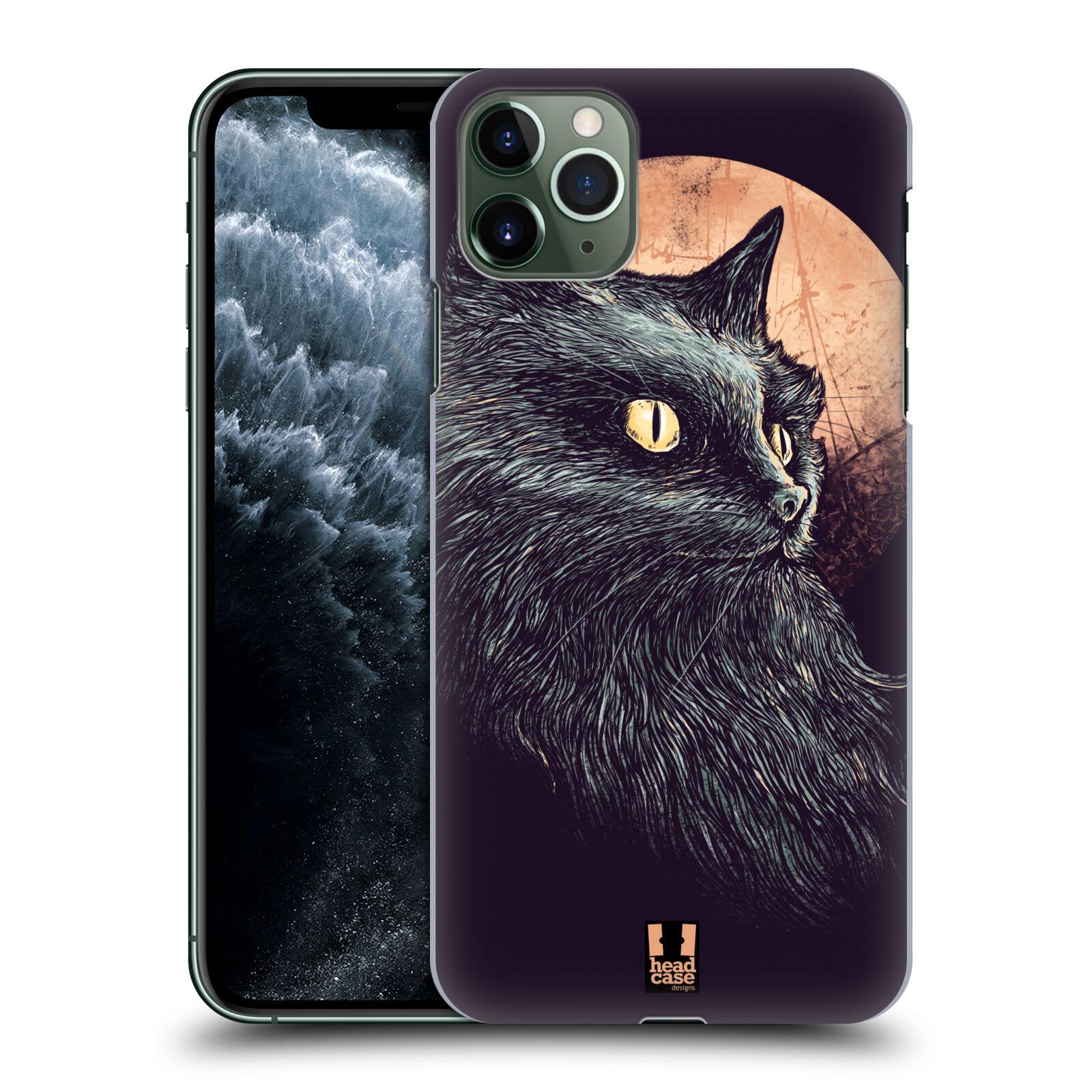 Pouzdro na mobil Apple Iphone 11 PRO MAX - HEAD CASE - vzor Gotická kočka oranžový měsíc