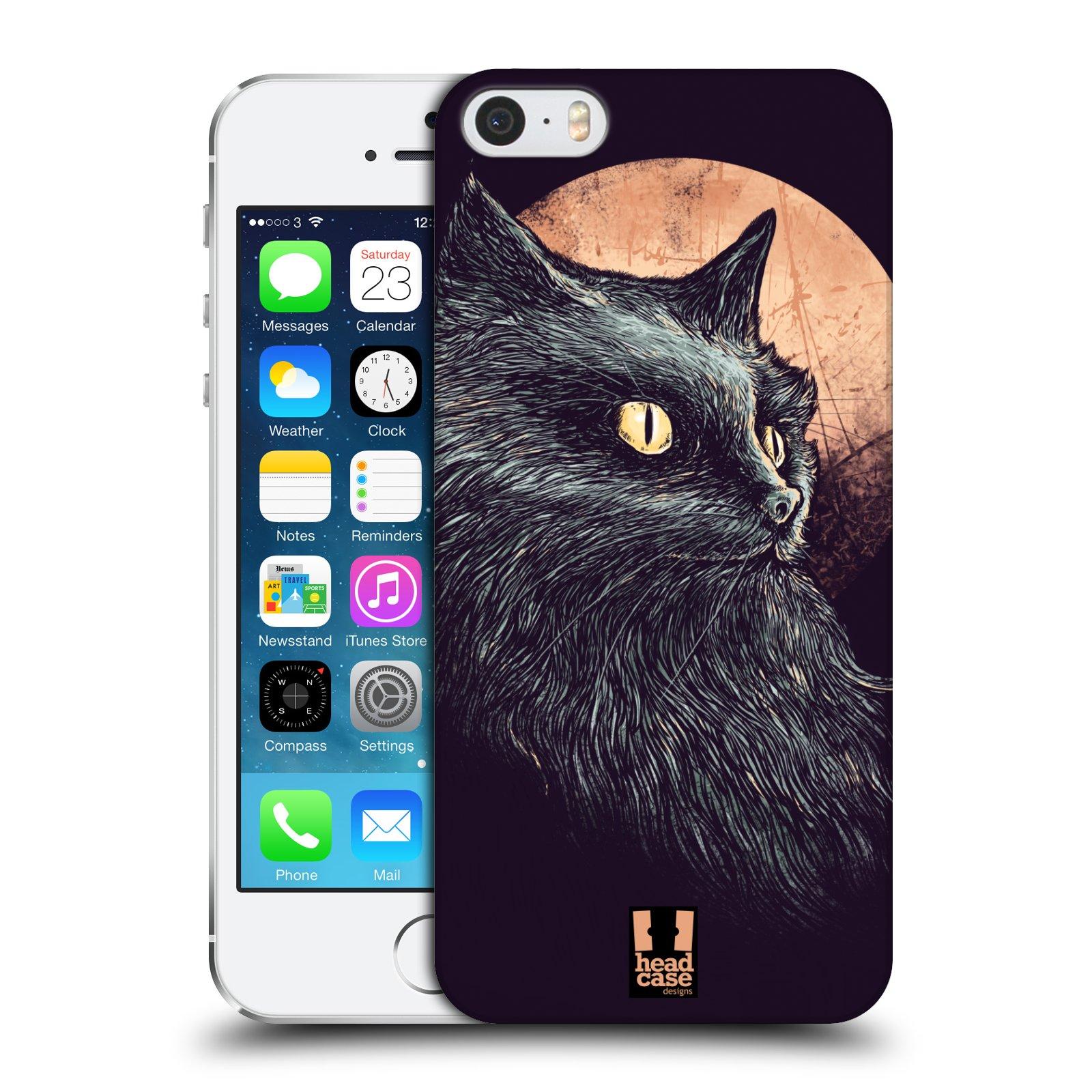 Plastové pouzdro pro mobil Apple Iphone 5   5S   SE vzor Gotická kočka  oranžový měsíc c03f2c4e44c