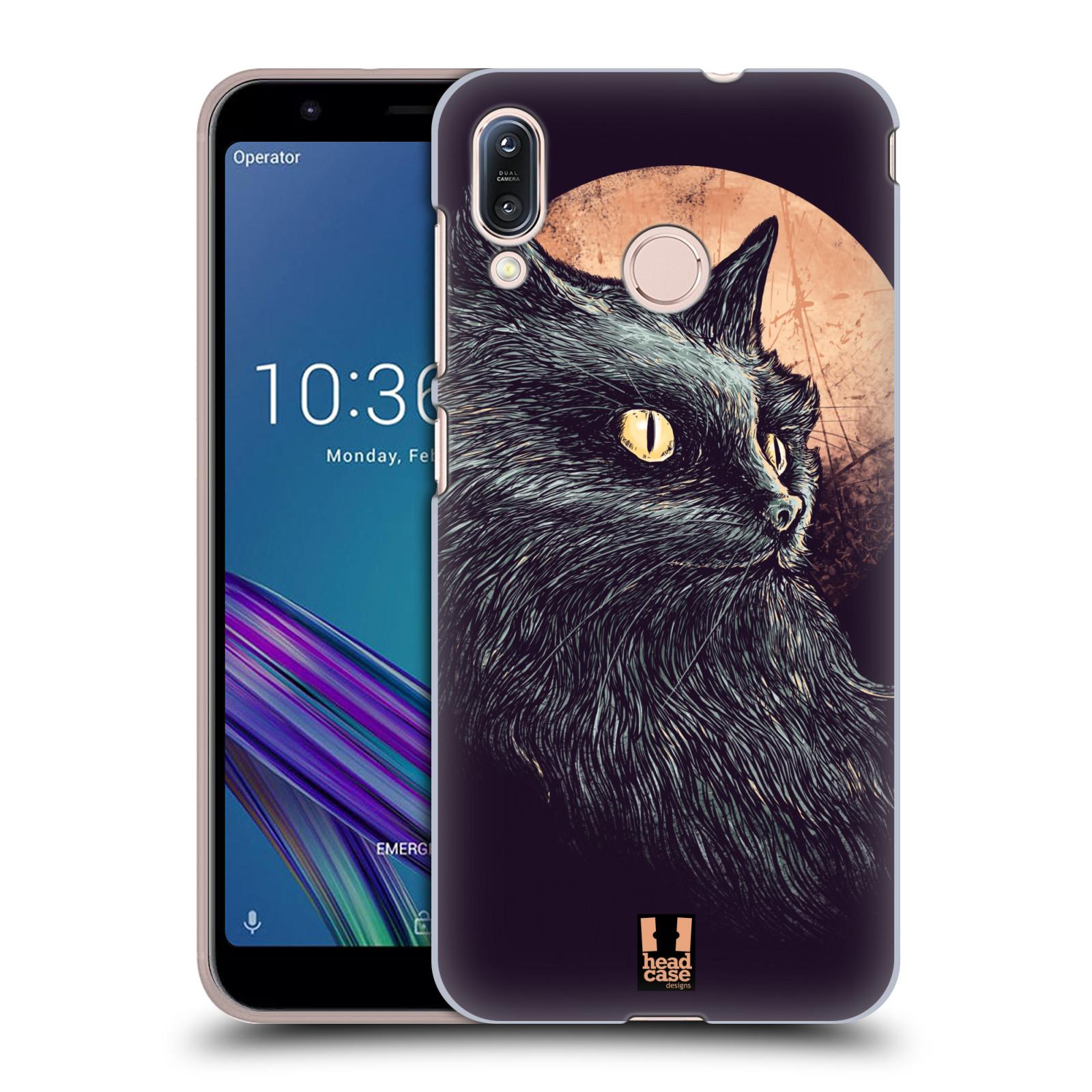 Pouzdro na mobil Asus Zenfone Max M1 (ZB555KL) - HEAD CASE - vzor Gotická kočka oranžový měsíc