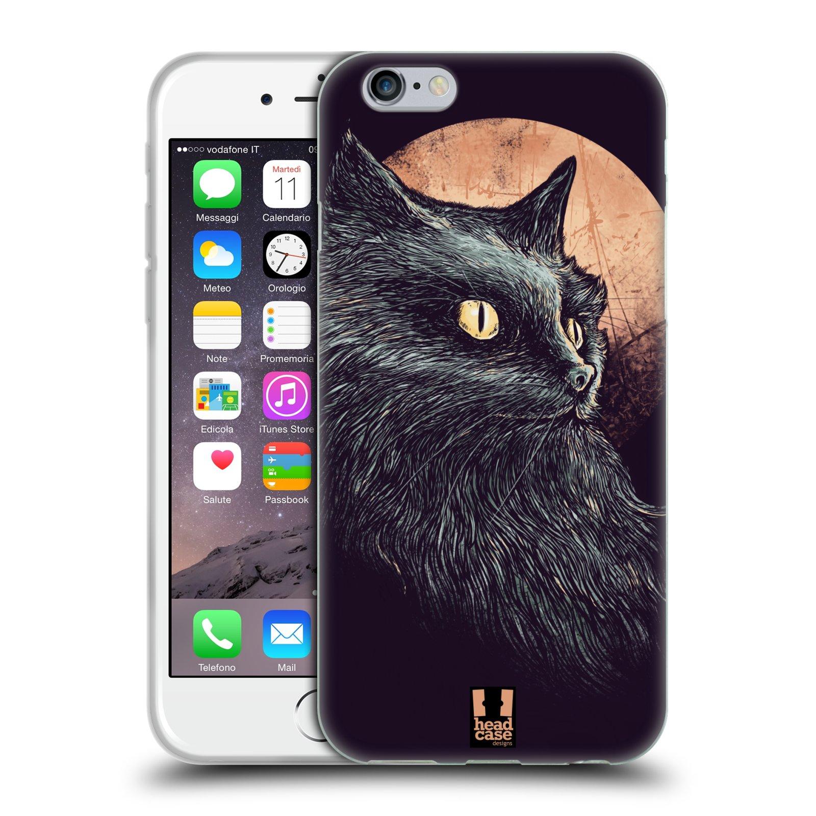 HEAD CASE silikonový obal na mobil Apple Iphone 6/6S vzor Gotická kočka oranžový měsíc