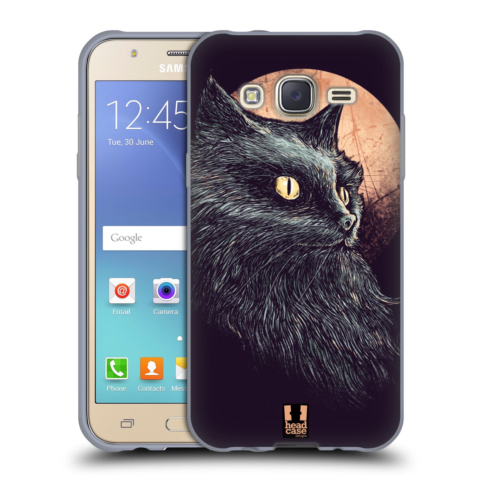 HEAD CASE silikonový obal na mobil Samsung Galaxy J5, J500, (J5 DUOS) vzor Gotická kočka oranžový měsíc