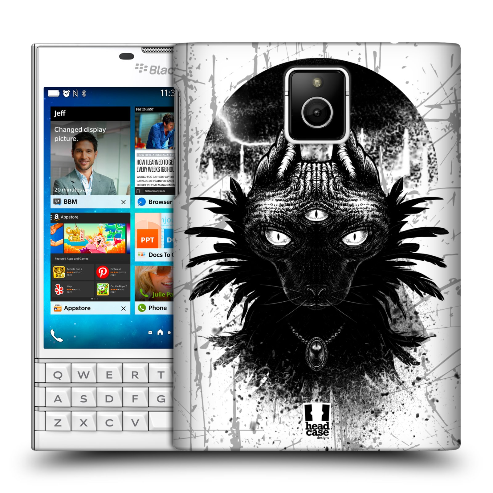 HEAD CASE plastový obal na mobil BlackBerry Passport vzor Gotická kočka třetí oko