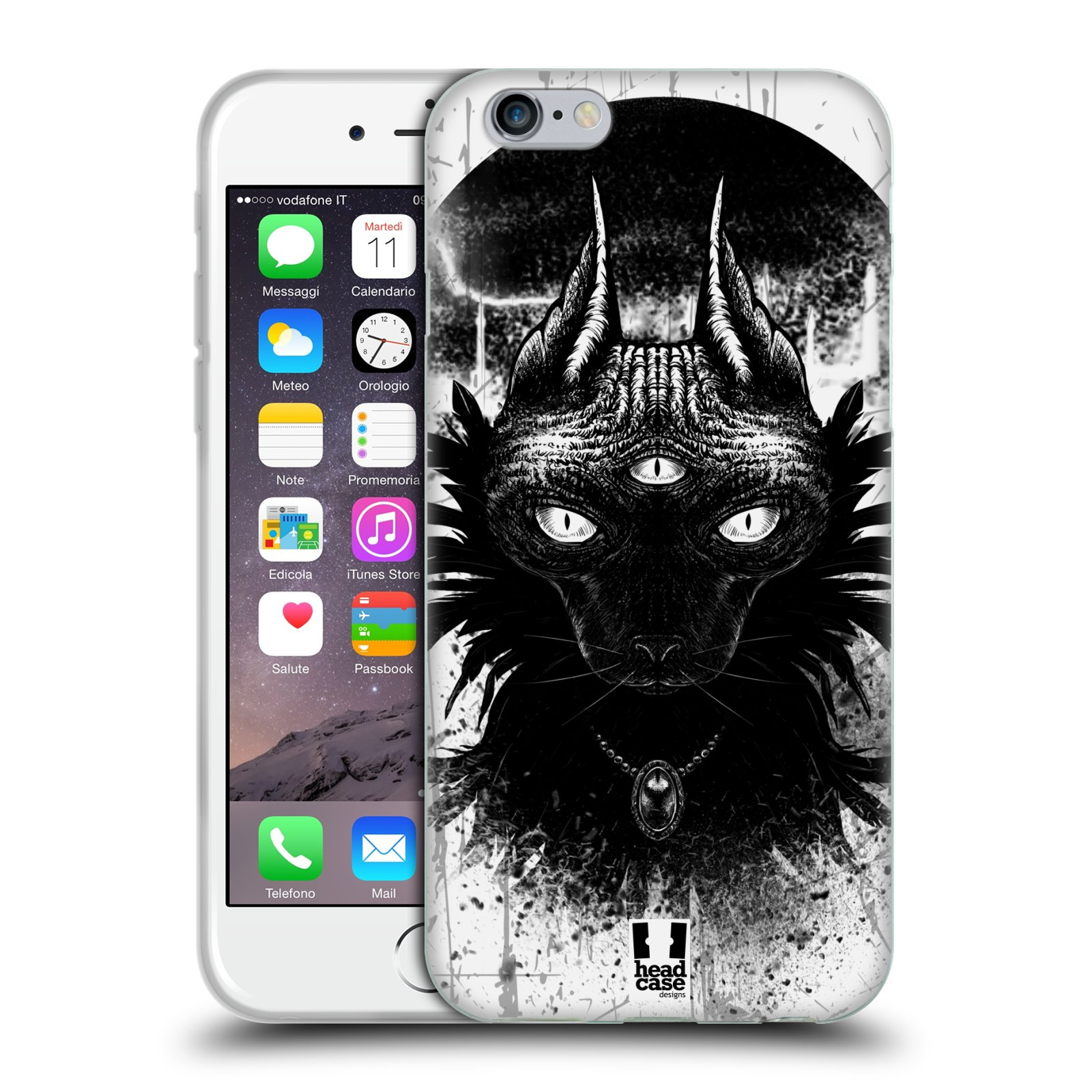 HEAD CASE silikonový obal na mobil Apple Iphone 6/6S vzor Gotická kočka třetí oko