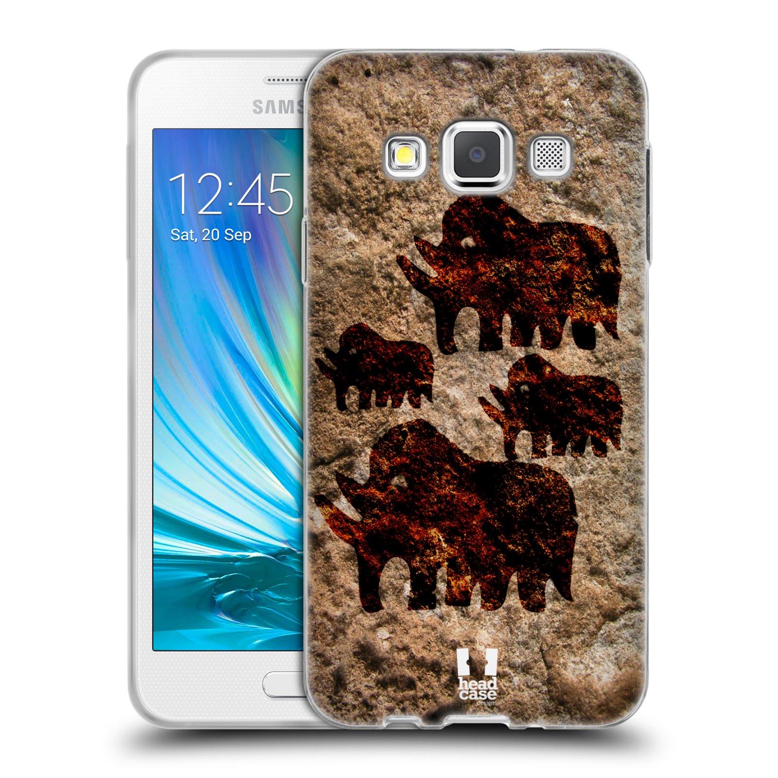 HEAD CASE silikonový obal na mobil Samsung Galaxy A3 vzor Pravěké malby MAMUT