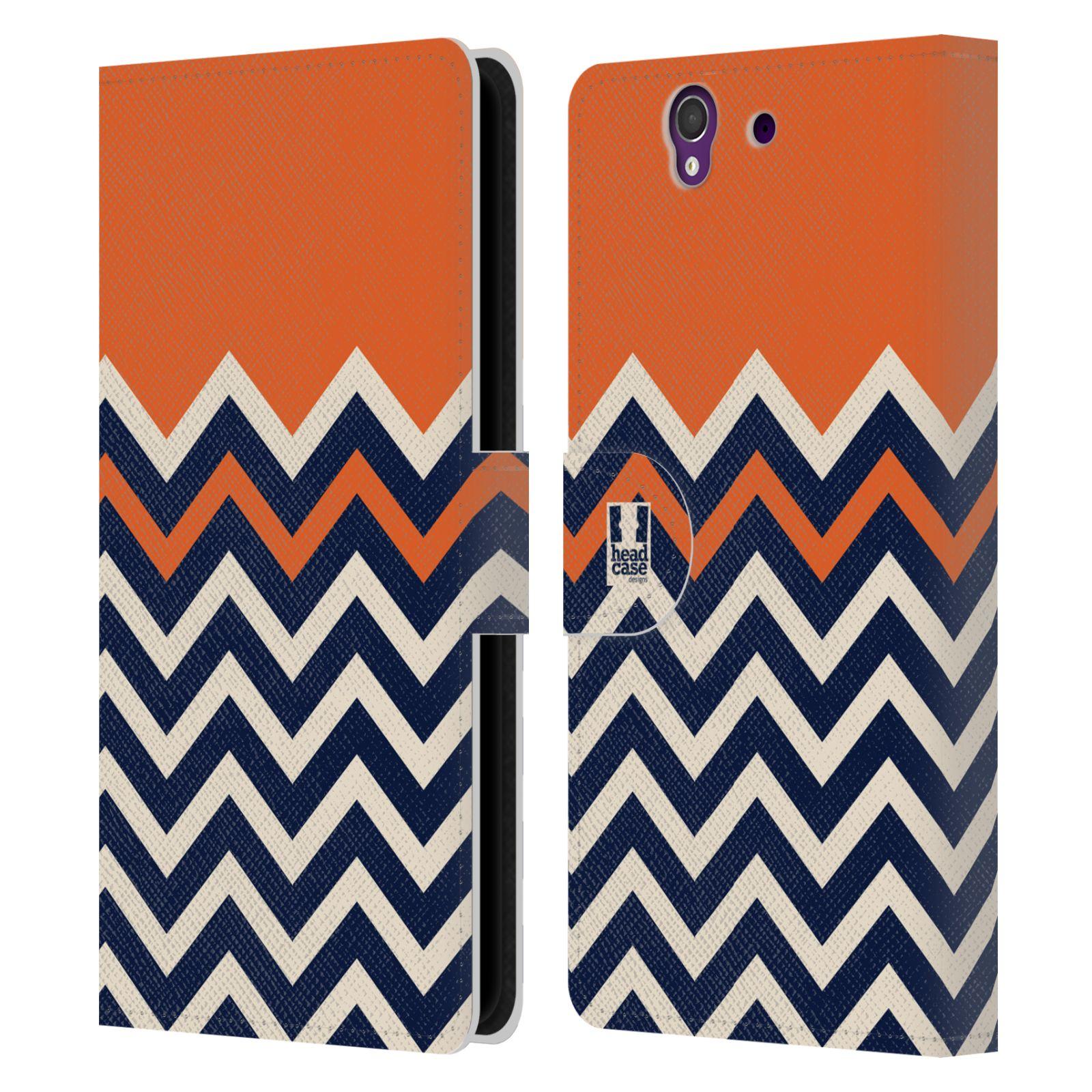 HEAD CASE Flipové pouzdro pro mobil SONY XPERIA Z (C6603) Barevné šipky oranžová a modrá