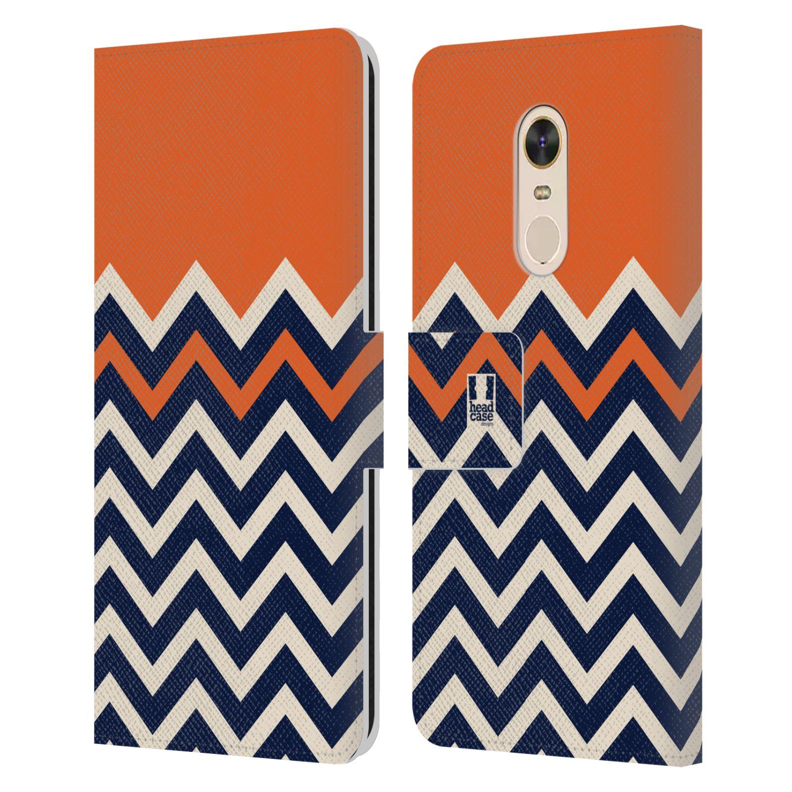 HEAD CASE Flipové pouzdro pro mobil Xiaomi Redmi Note 5 Barevné šipky oranžová a modrá