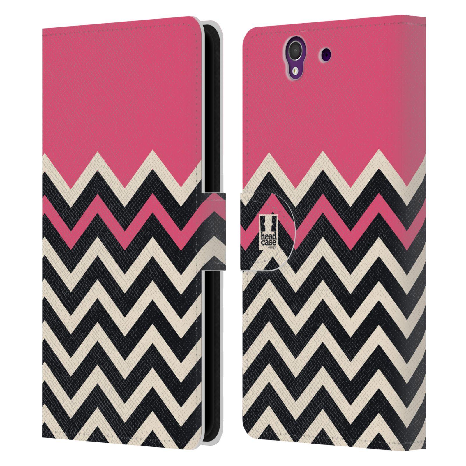 HEAD CASE Flipové pouzdro pro mobil SONY XPERIA Z (C6603) Barevné šipky růžová a černá