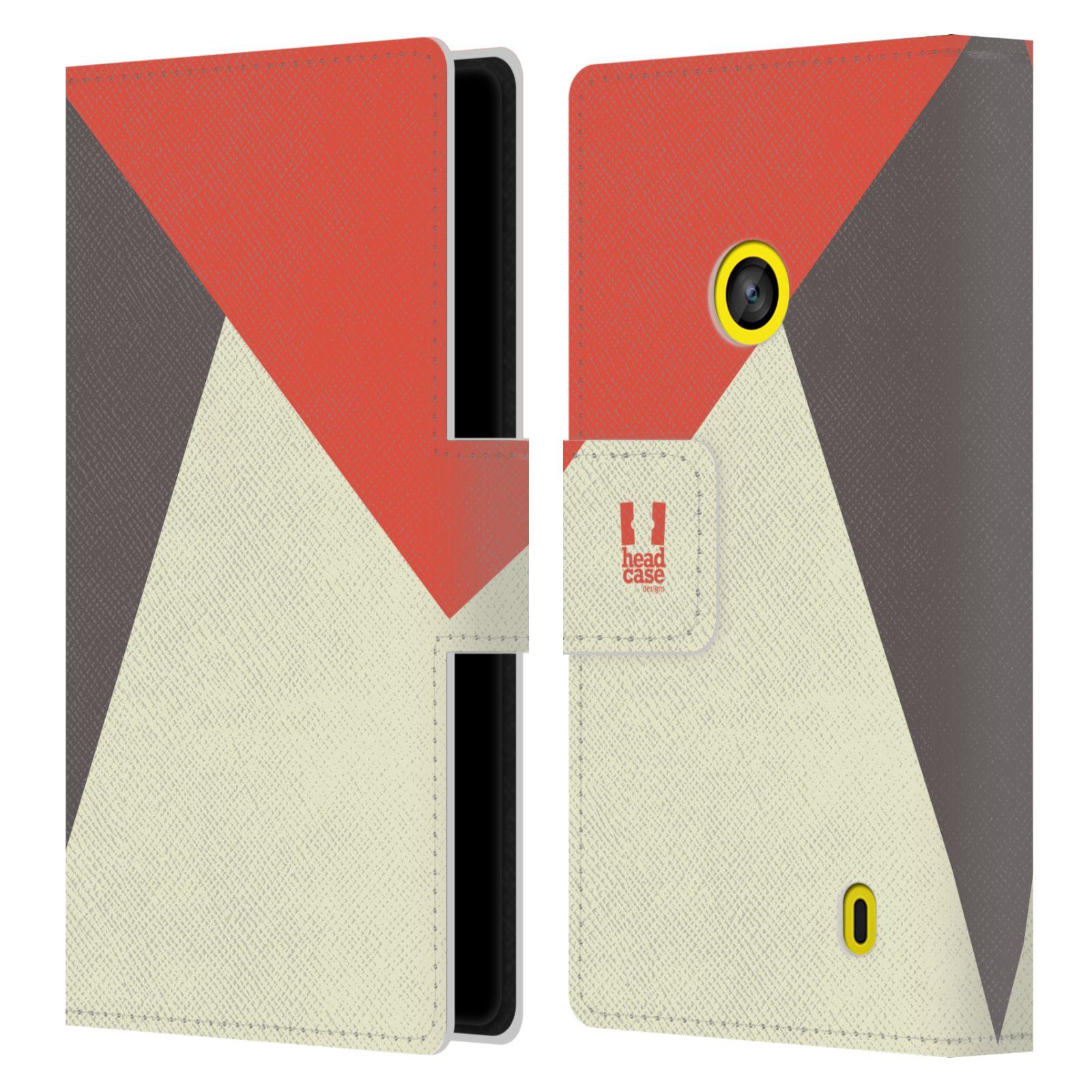 HEAD CASE Flipové pouzdro pro mobil Nokia LUMIA 520/525 barevné tvary červená a šedá COOL