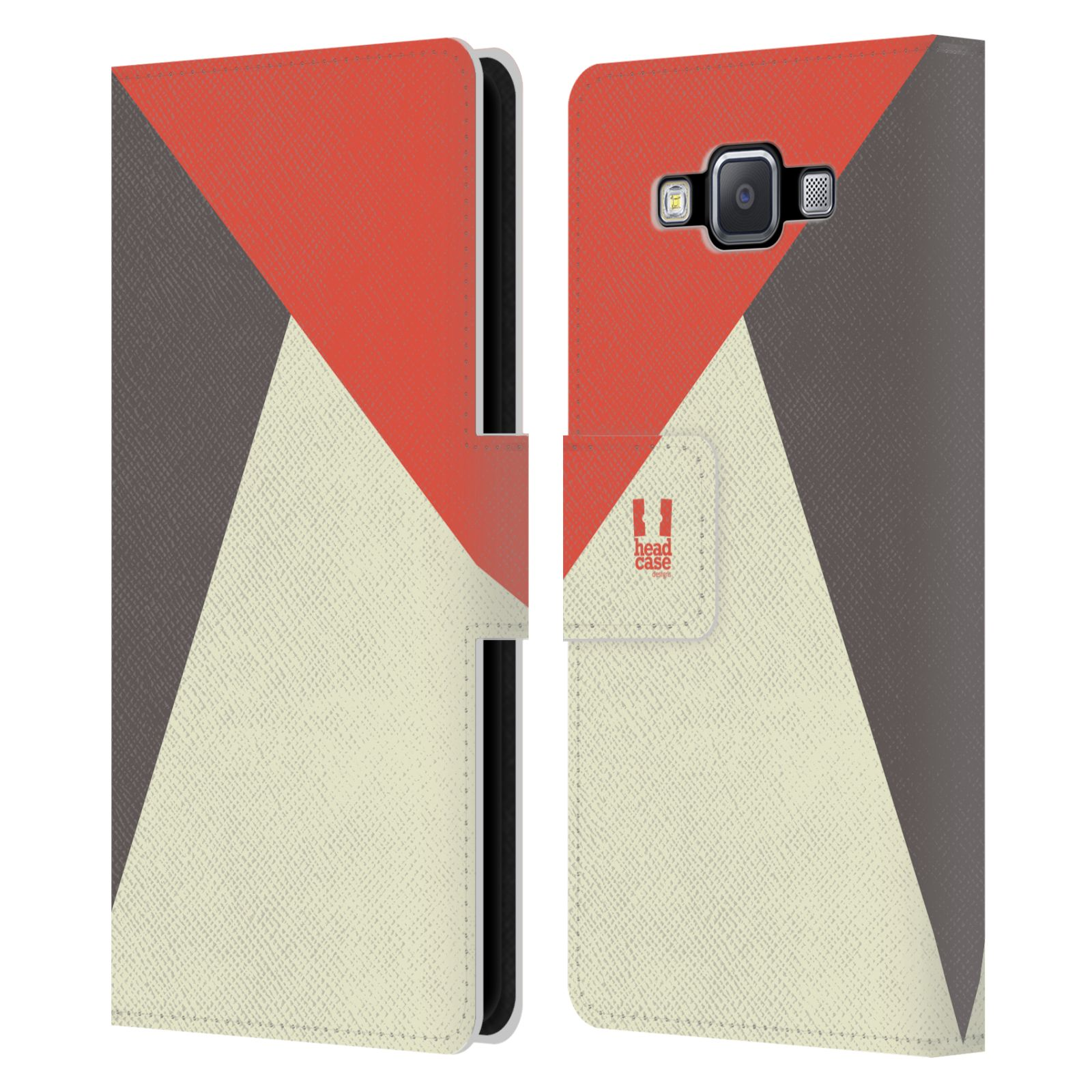 HEAD CASE Flipové pouzdro pro mobil Samsung Galaxy A5 barevné tvary červená a šedá COOL