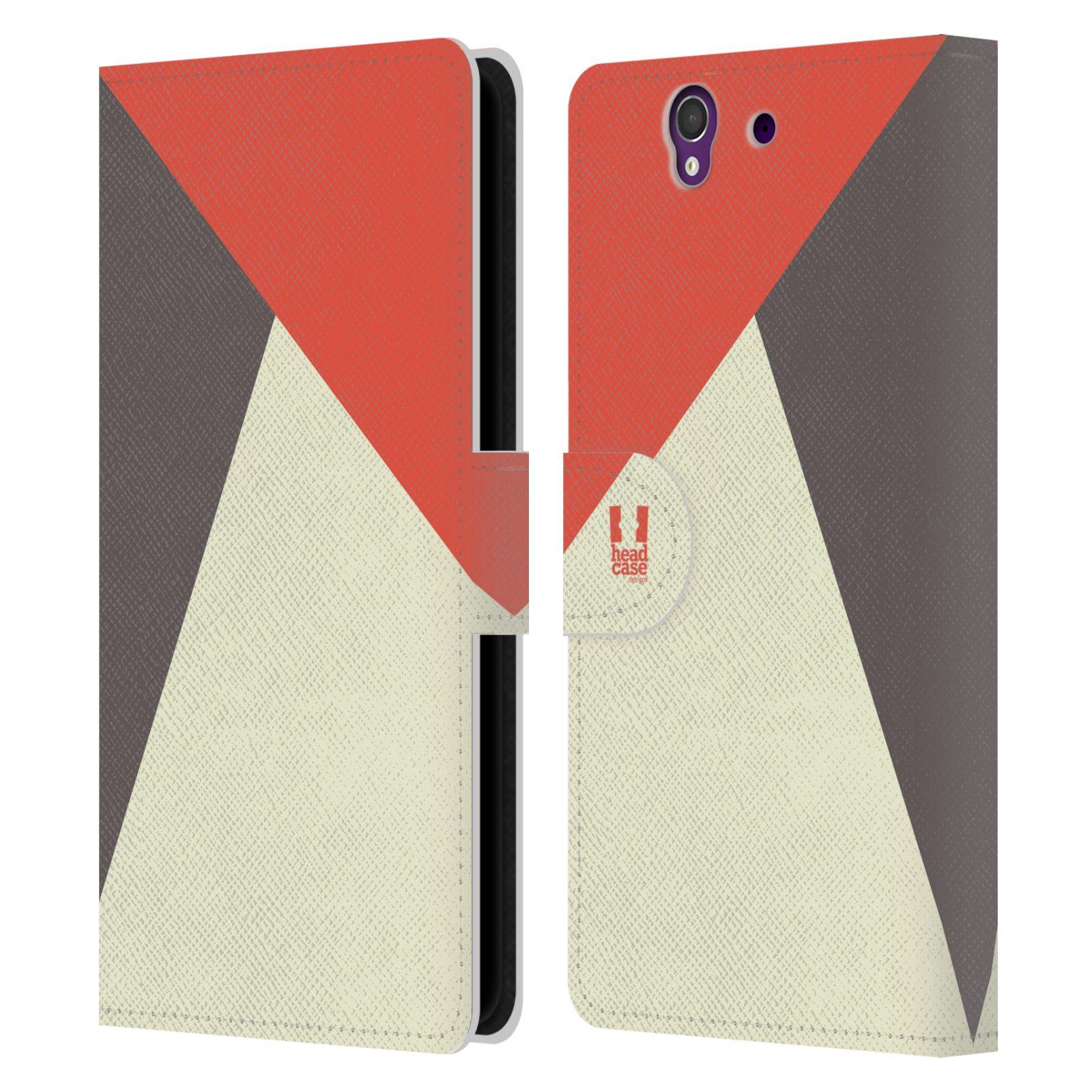HEAD CASE Flipové pouzdro pro mobil SONY Xperia Z barevné tvary červená a šedá COOL