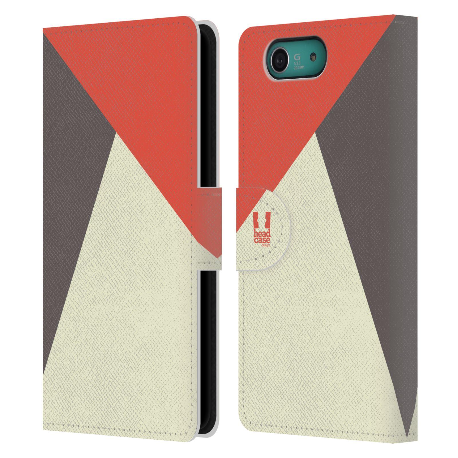 HEAD CASE Flipové pouzdro pro mobil SONY XPERIA Z3 COMPACT barevné tvary červená a šedá COOL