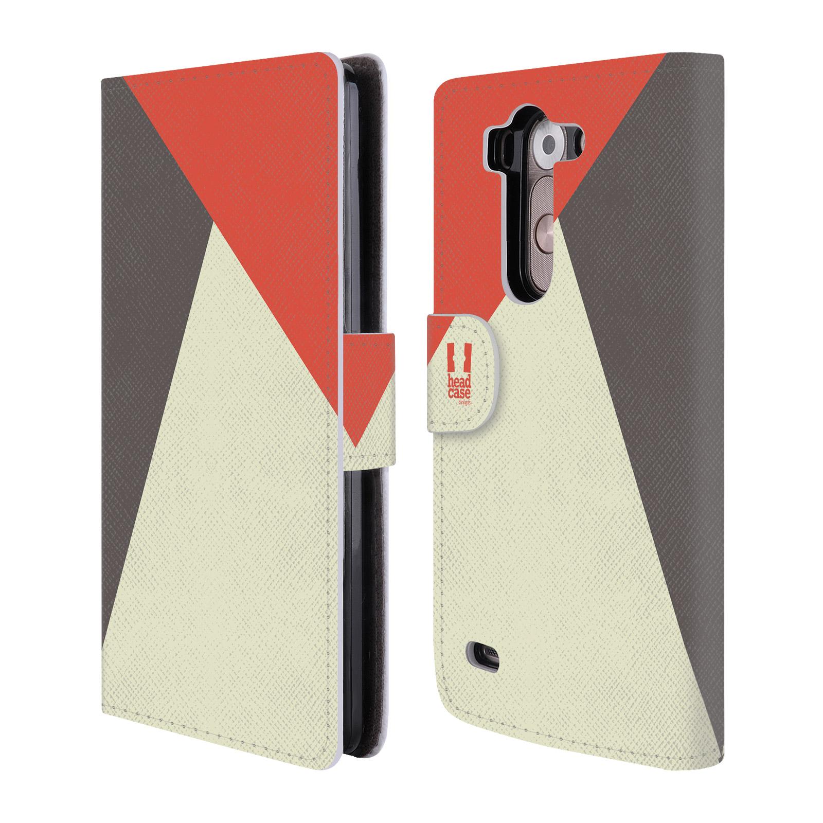 HEAD CASE Flipové pouzdro pro mobil LG G3s barevné tvary červená a šedá COOL