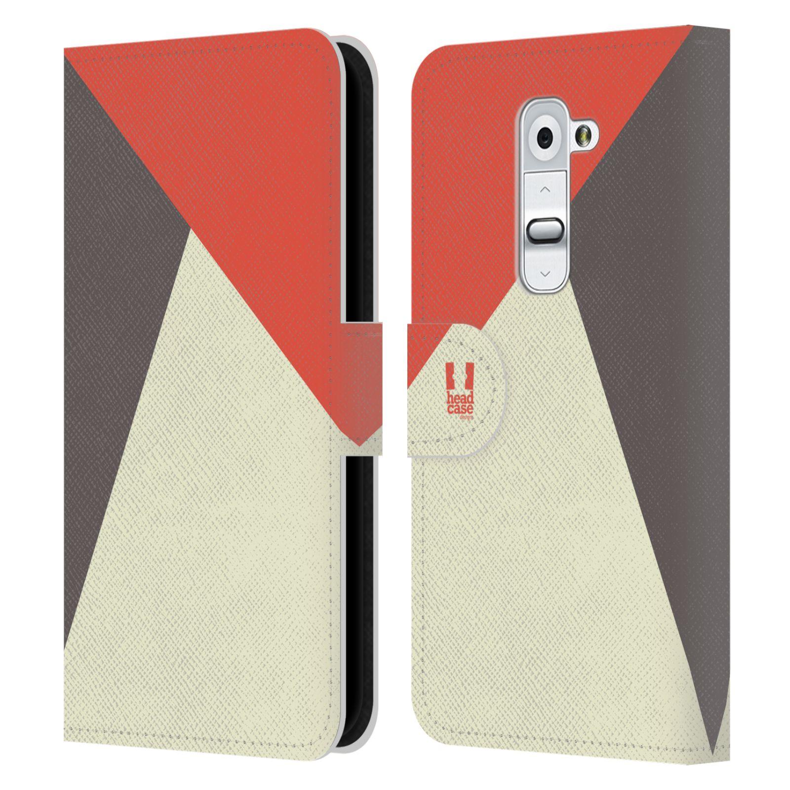 HEAD CASE Flipové pouzdro pro mobil LG G2 barevné tvary červená a šedá COOL