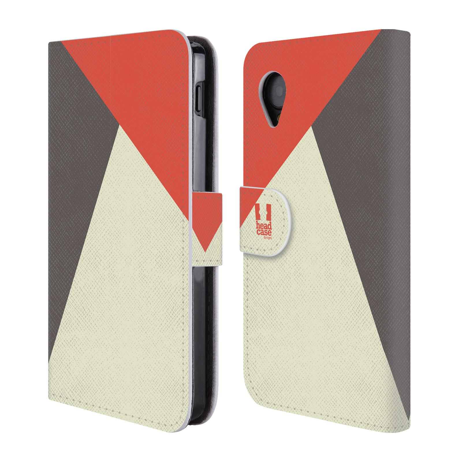 HEAD CASE Flipové pouzdro pro mobil LG GOOGLE NEXUS 5 barevné tvary červená a šedá COOL
