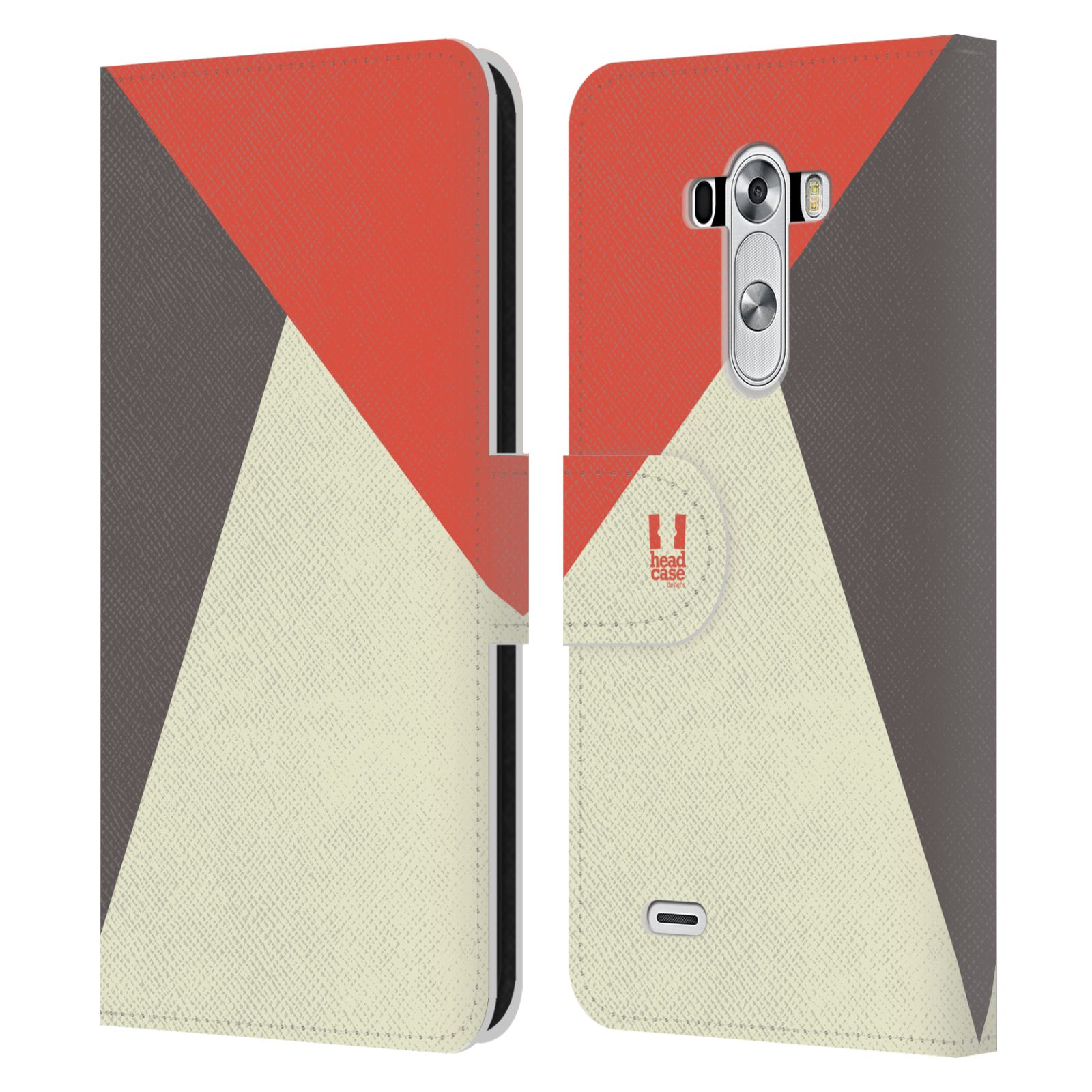 HEAD CASE Flipové pouzdro pro mobil LG G3 barevné tvary červená a šedá COOL