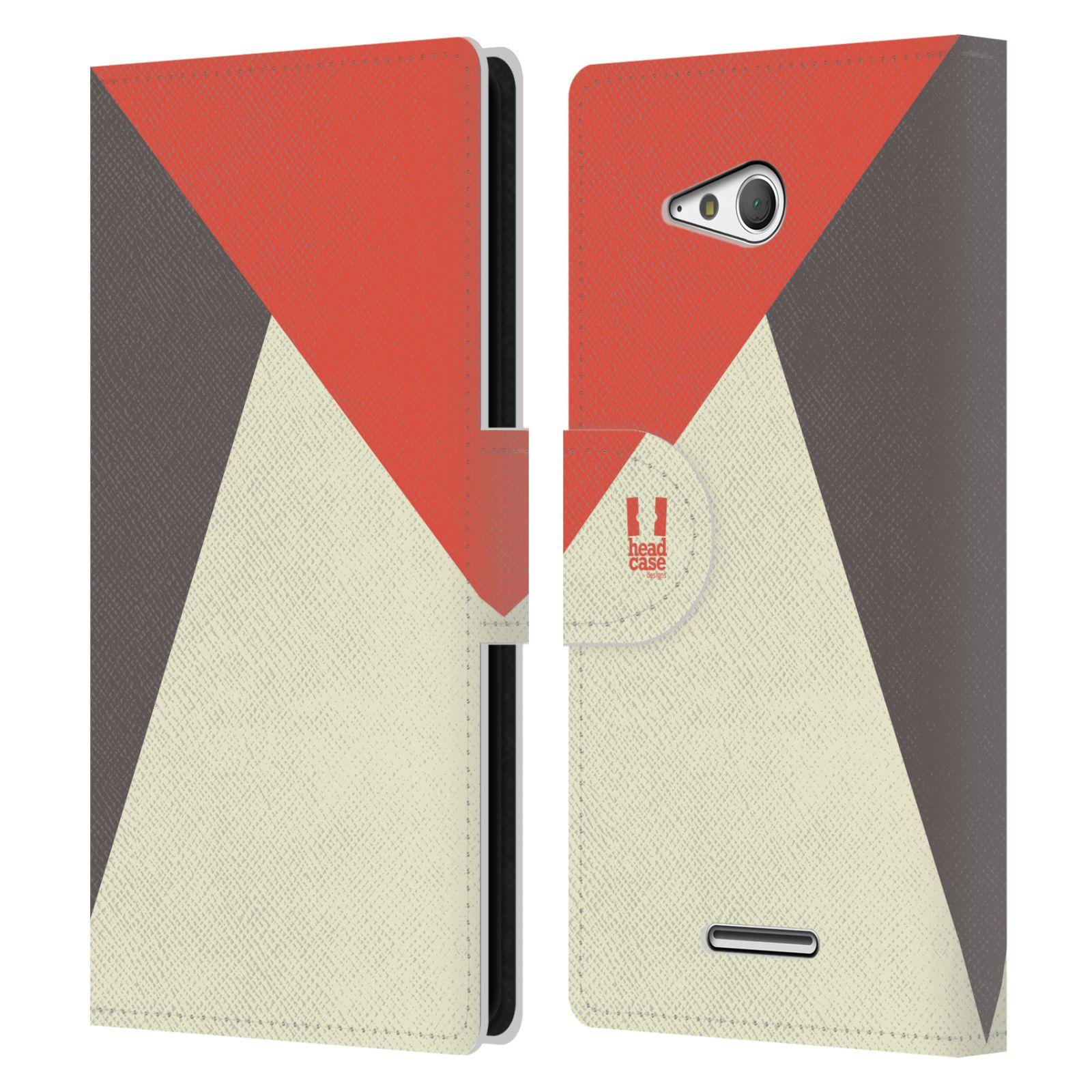 HEAD CASE Flipové pouzdro pro mobil SONY Xperia E4g barevné tvary červená a šedá COOL