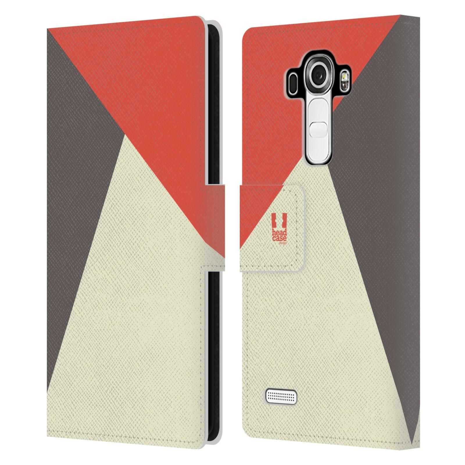 HEAD CASE Flipové pouzdro pro mobil LG G4 barevné tvary červená a šedá COOL