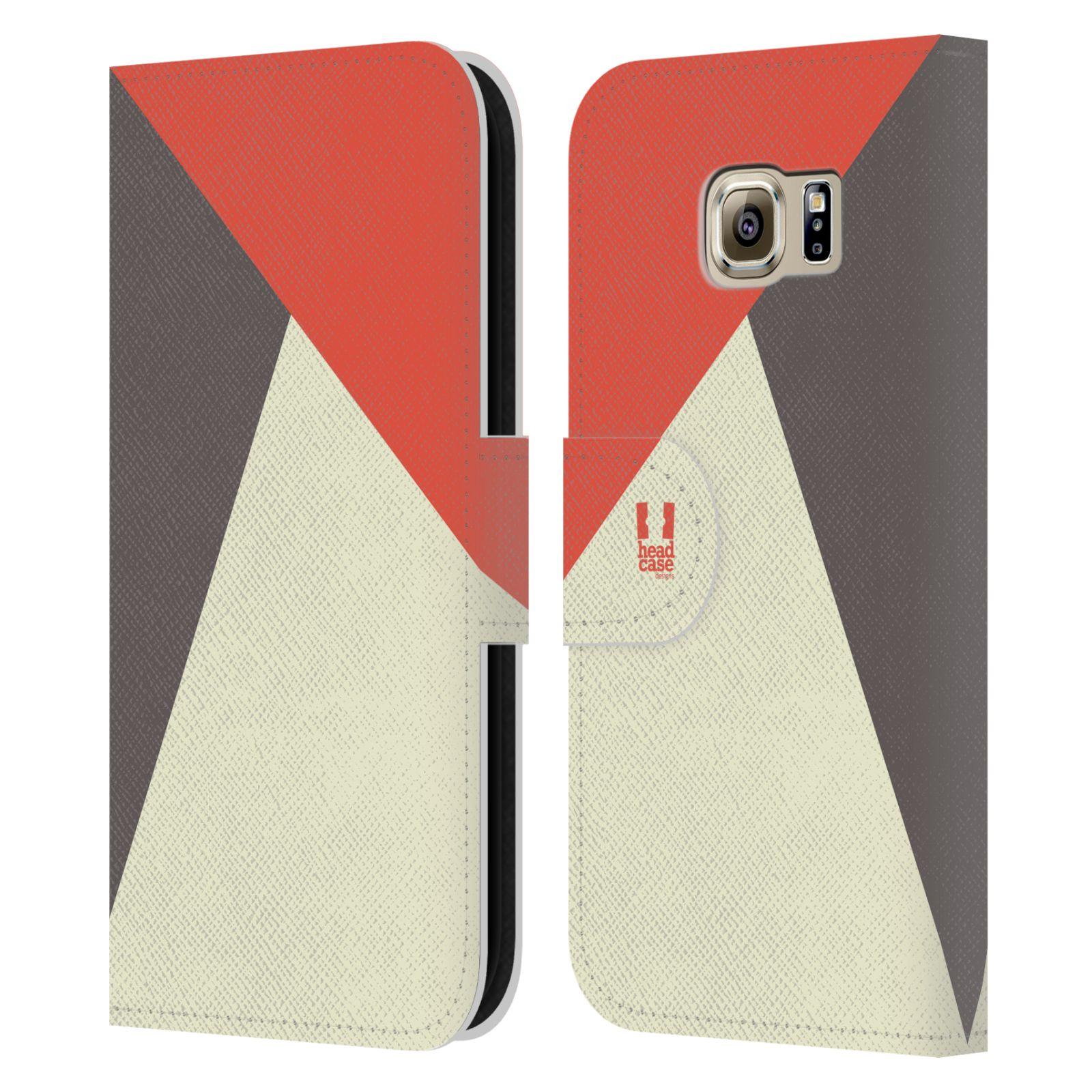 HEAD CASE Flipové pouzdro pro mobil Samsung Galaxy S6 barevné tvary červená a šedá COOL