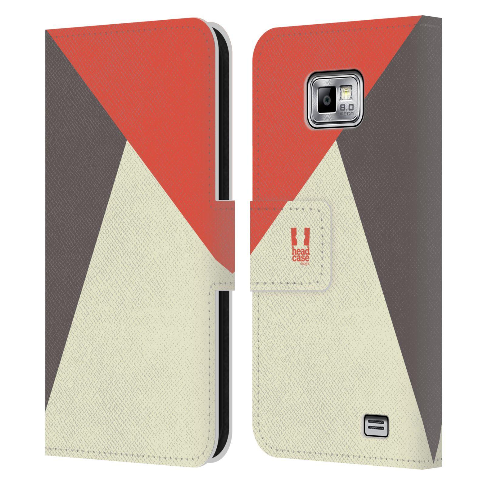 HEAD CASE Flipové pouzdro pro mobil Samsung Galaxy S2 i9100 barevné tvary červená a šedá COOL