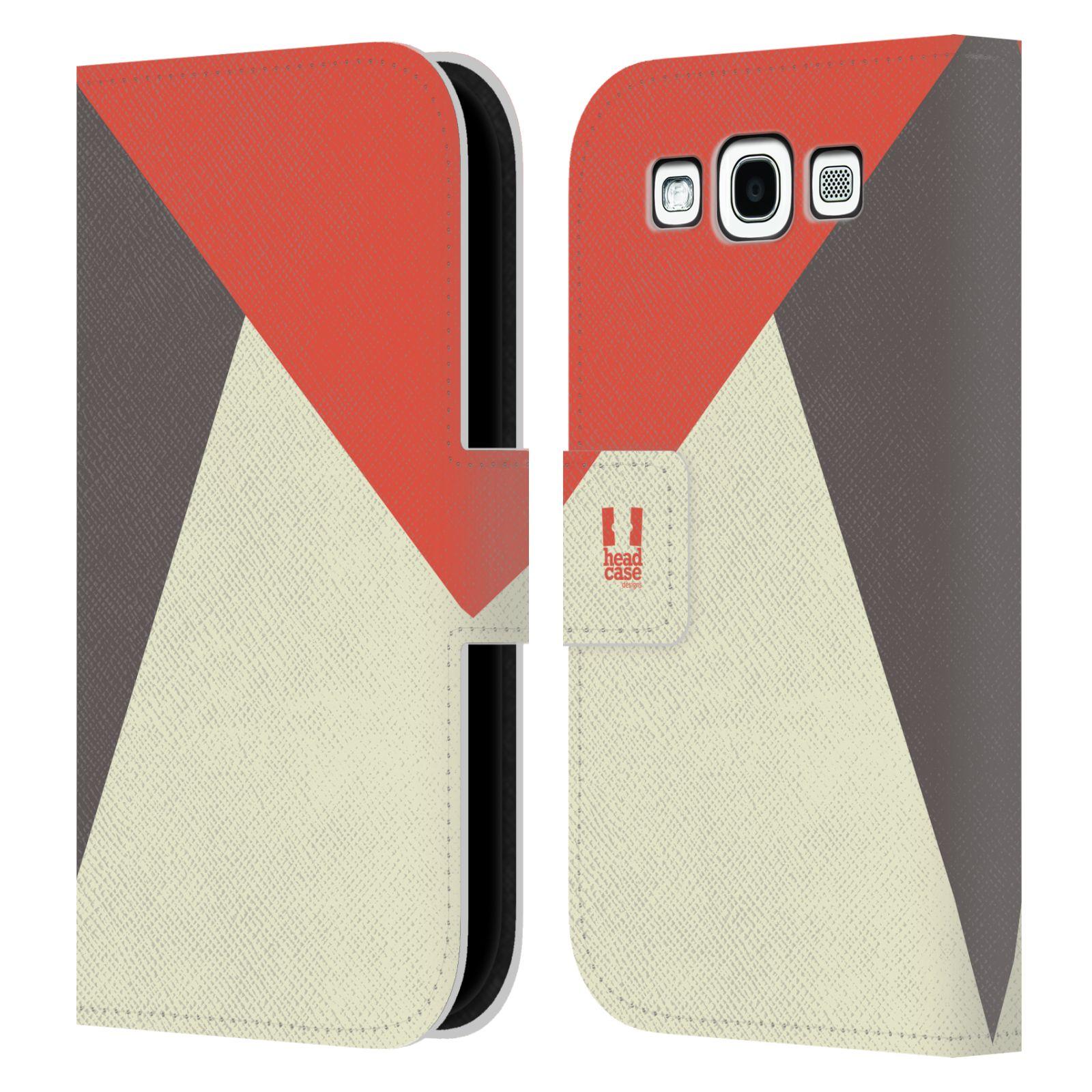 HEAD CASE Flipové pouzdro pro mobil Samsung Galaxy S3 I9300 barevné tvary červená a šedá COOL