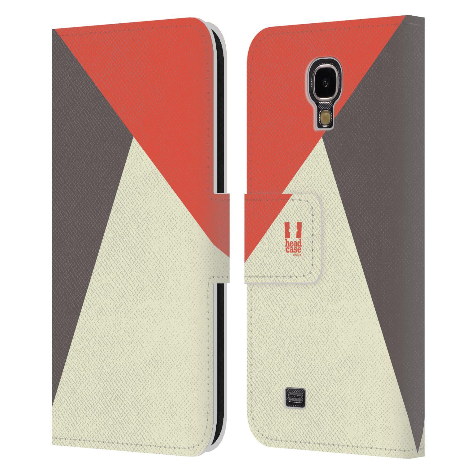 HEAD CASE Flipové pouzdro pro mobil Samsung Galaxy S4 I9500 barevné tvary červená a šedá COOL