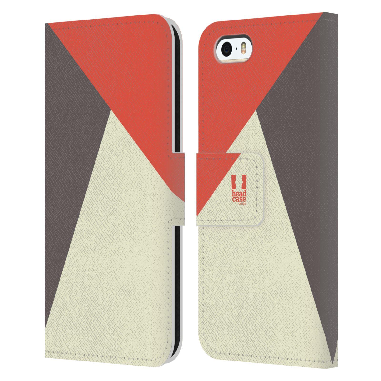 HEAD CASE Flipové pouzdro pro mobil Apple Iphone 5/5S barevné tvary červená a šedá COOL