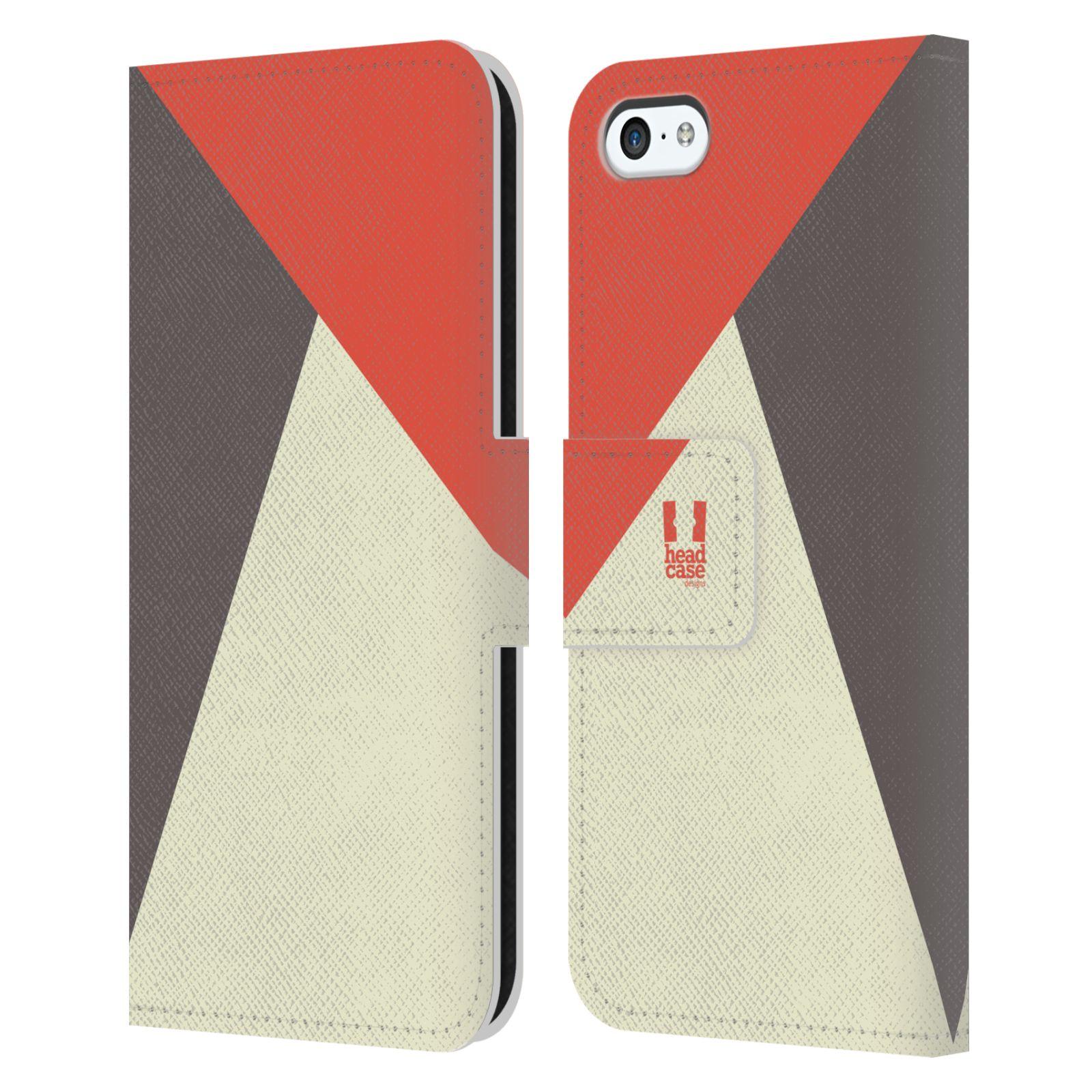 HEAD CASE Flipové pouzdro pro mobil Apple Iphone 5C barevné tvary červená a šedá COOL